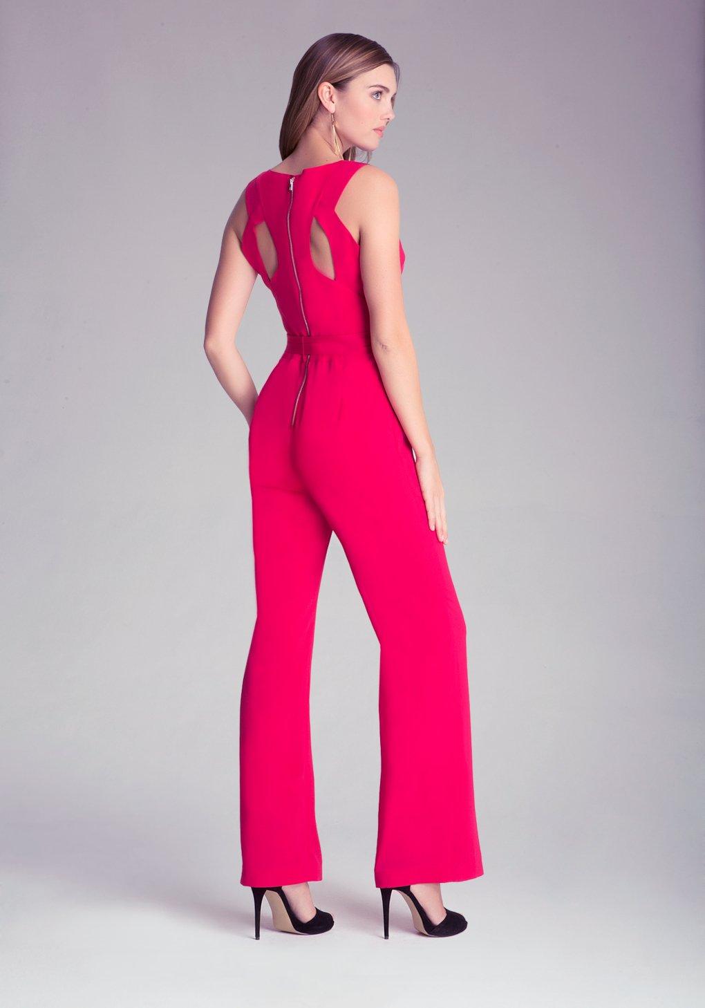 lyst bebe petite kelly jumpsuit in pink. Black Bedroom Furniture Sets. Home Design Ideas