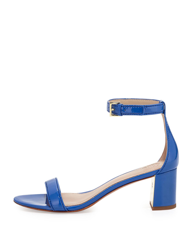 cc2b26299826 Lyst - Tory Burch Cecile Patent City Sandal in Blue