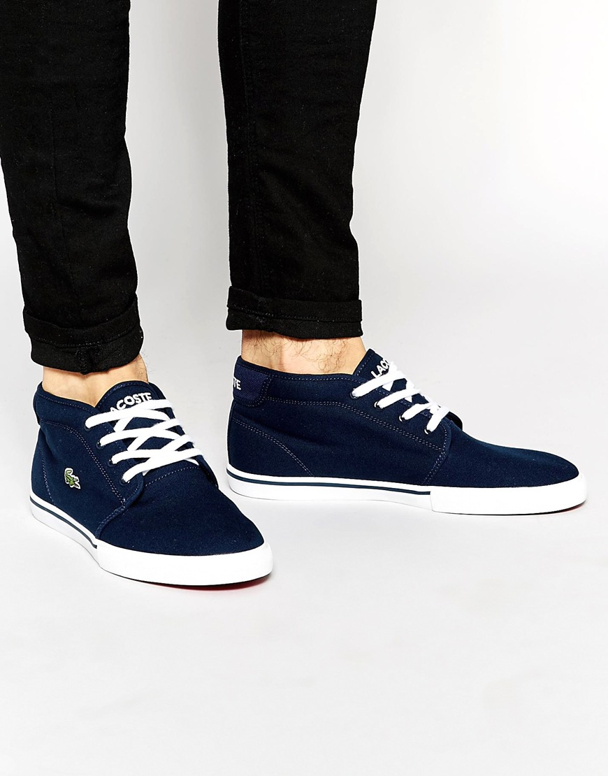 73939f0c83dce Lacoste Ampthill Mid Trainers in Blue for Men - Lyst