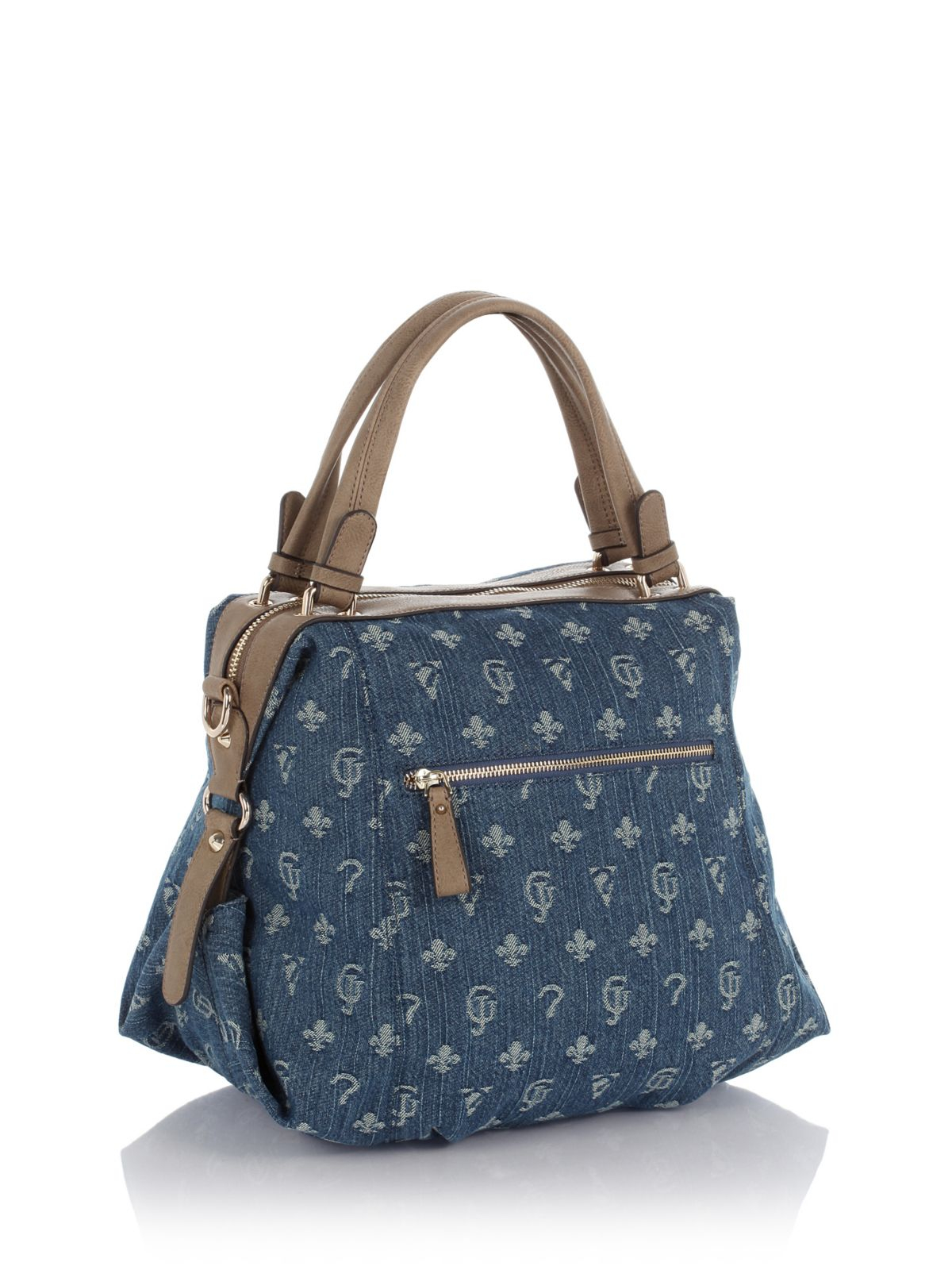 Guess Wild At Heart Lulu Denim Satchel Bag in Blue | Lyst
