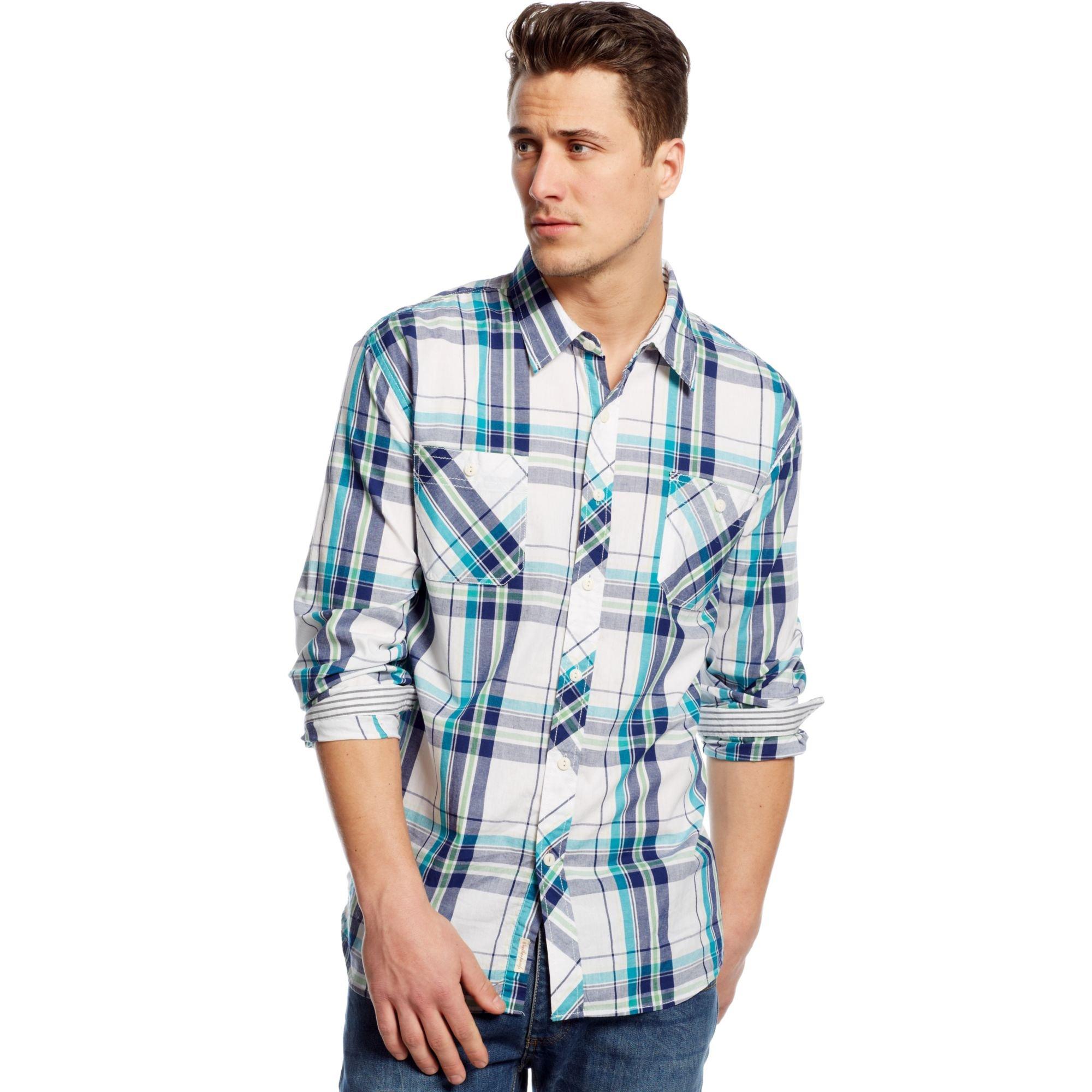 Lyst weatherproof vintage plaid shirt in blue for men for Weatherproof vintage men s lightweight flannel shirt