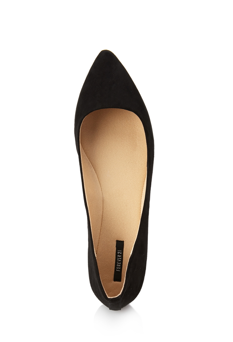 Lyst - Forever 21 Pointed Faux Suede Flats in Black 0dbf390596