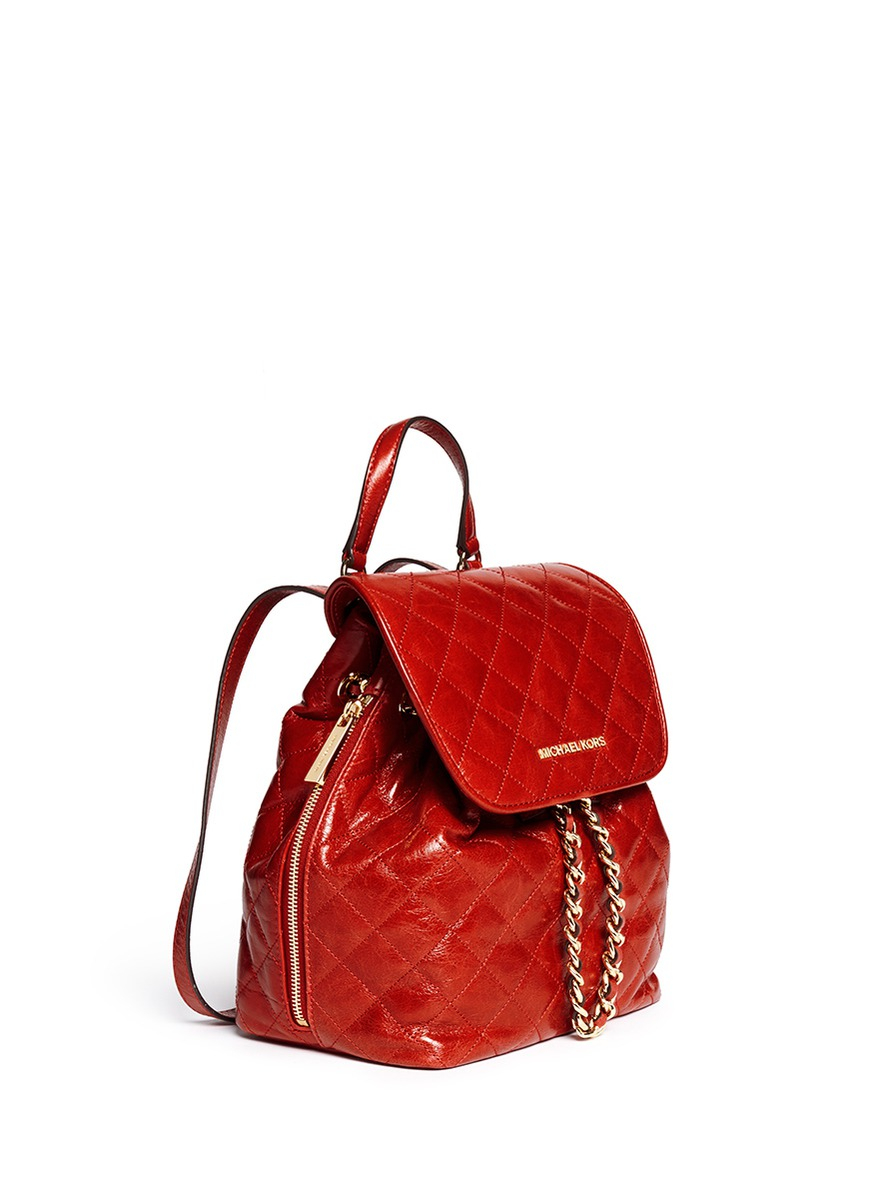 Lyst Michael Kors Susannah Quilted Leather Backpack In Red