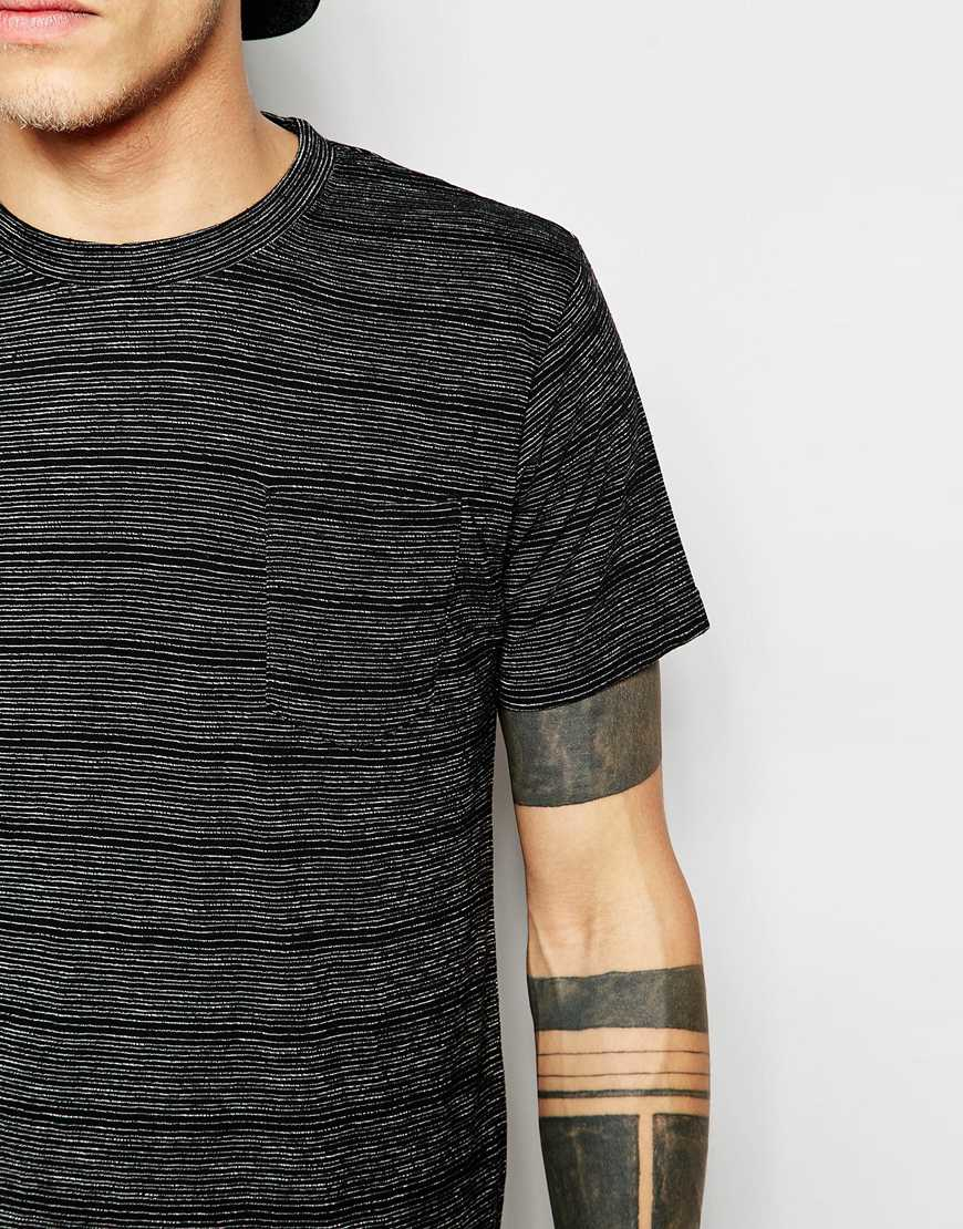 D struct slub knit t shirt in black for men lyst for What is a slub shirt