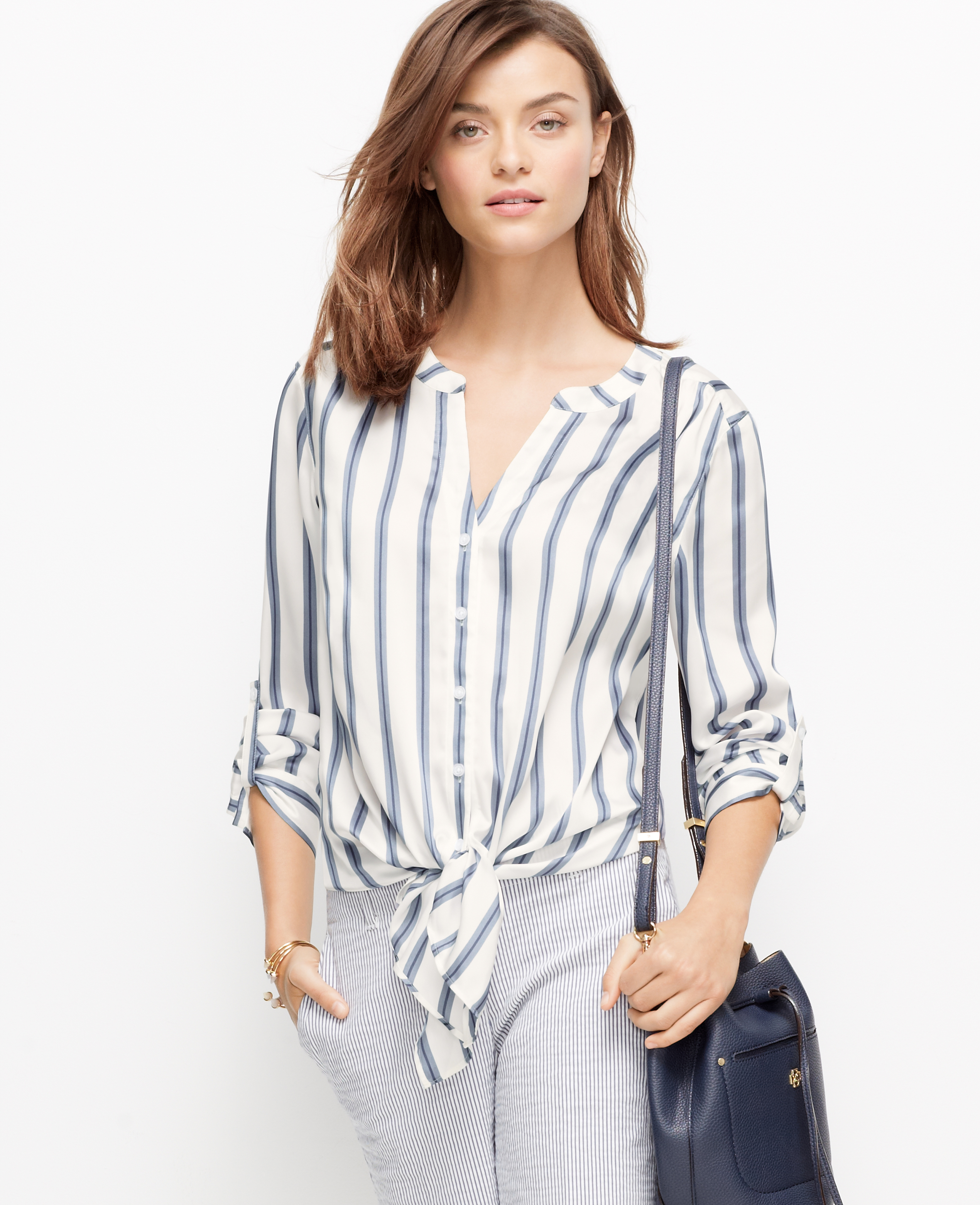 37db0f165e8d2 Lyst - Ann Taylor Petite Striped Tie-Front Blouse in Blue