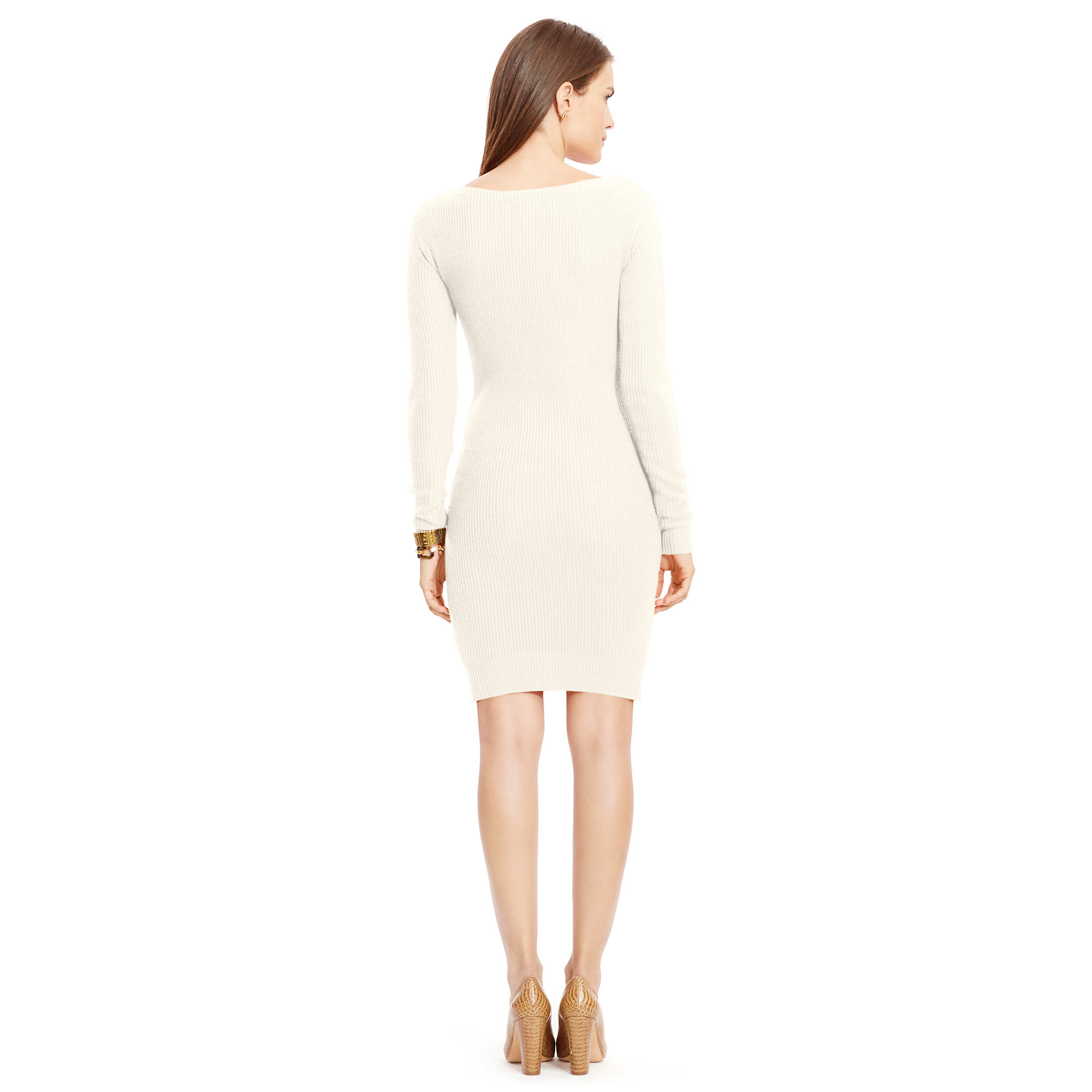Lyst Ralph Lauren Merino Wool Sweater Dress In Natural