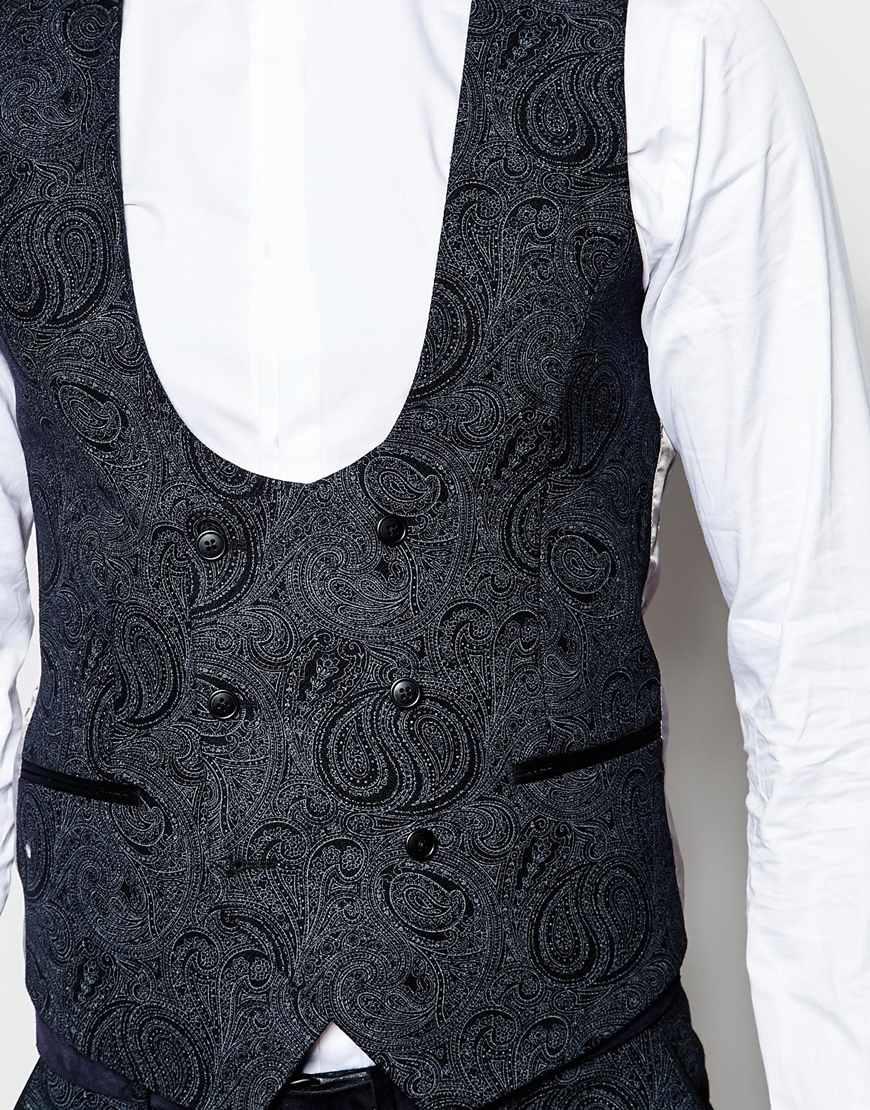 Noose And Monkey Tuxedo Waistcoat With Tonal Paisley Print