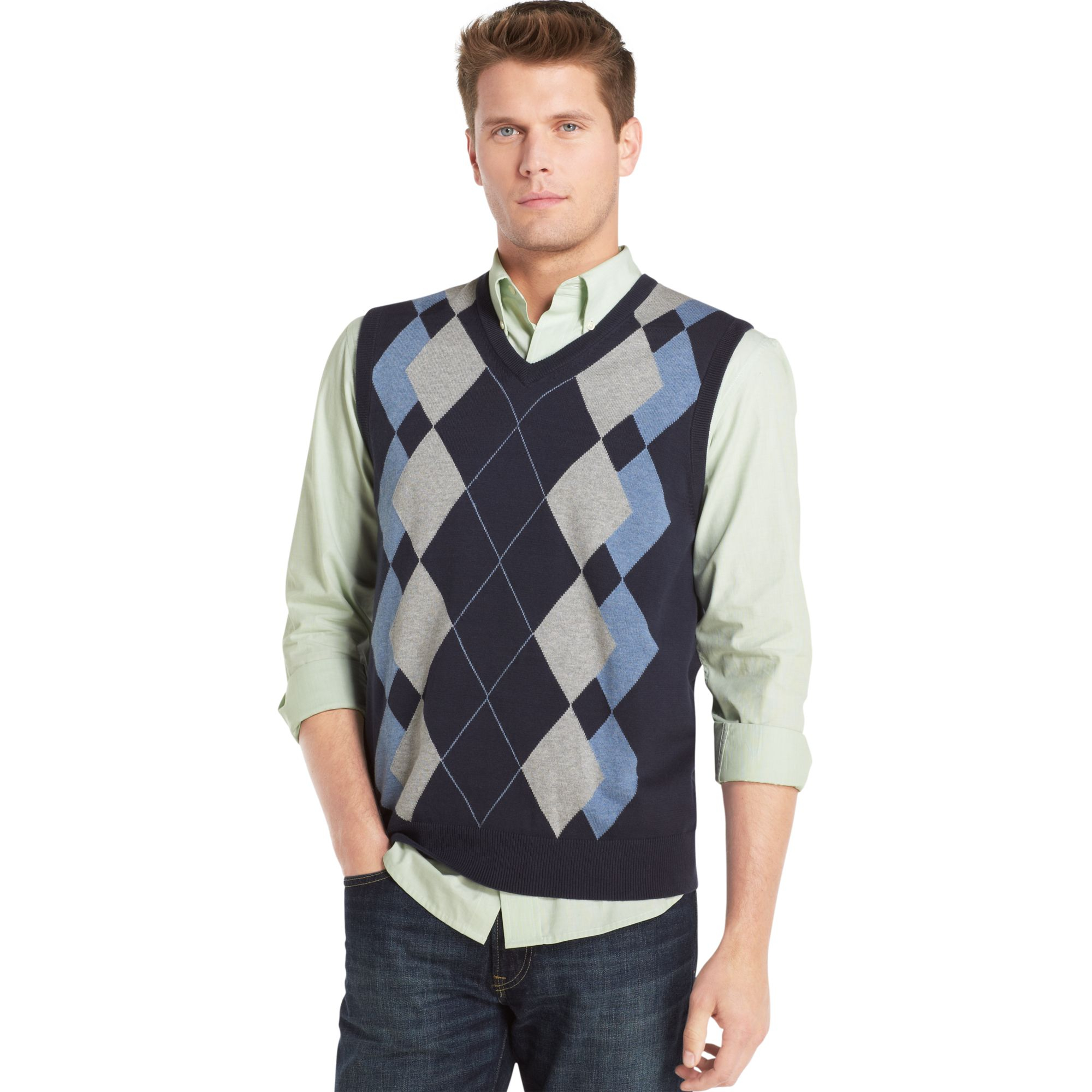 Izod Argyle Sweater Vest in Blue for Men | Lyst