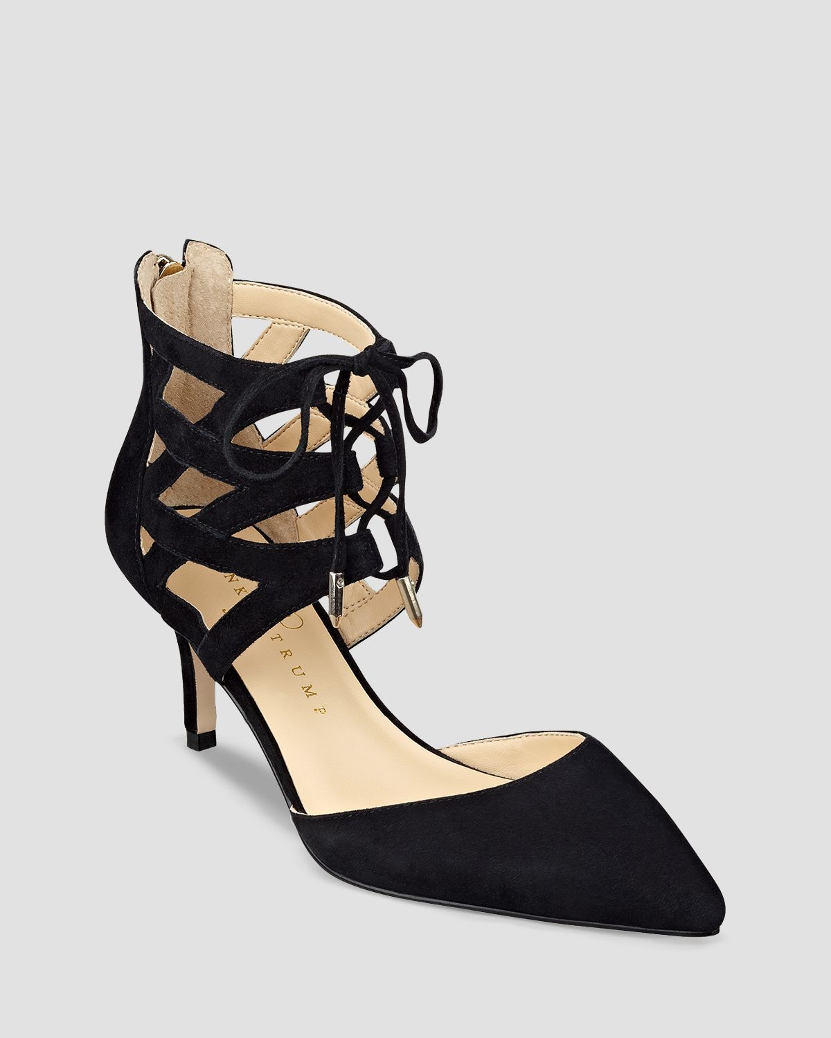 Lyst - Ivanka Trump Pointed Toe Lace Up Pumps