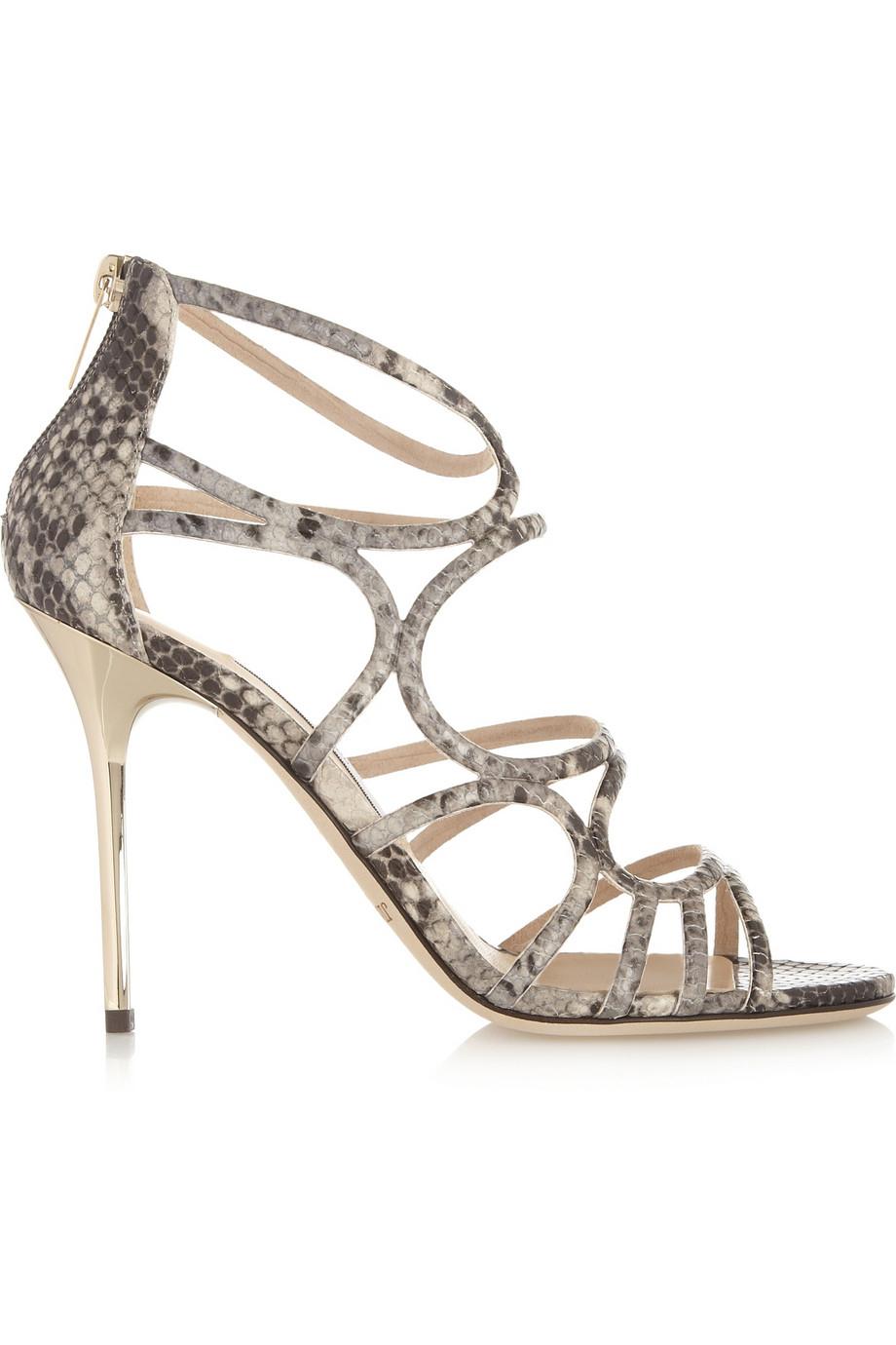 a2ce561c9038f2 Jimmy Choo Sazerac Snake-Effect Leather Sandals - Lyst