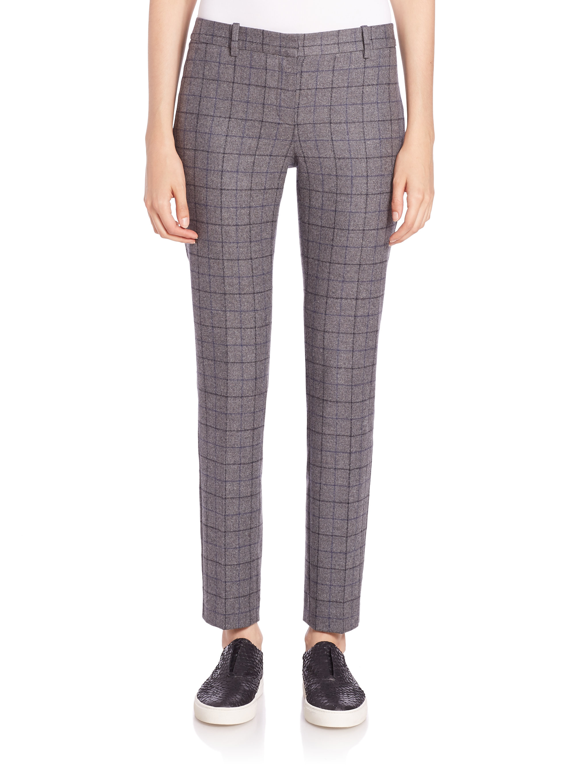 Theory Treeca Plaid Stretch-wool Pants in Gray | Lyst