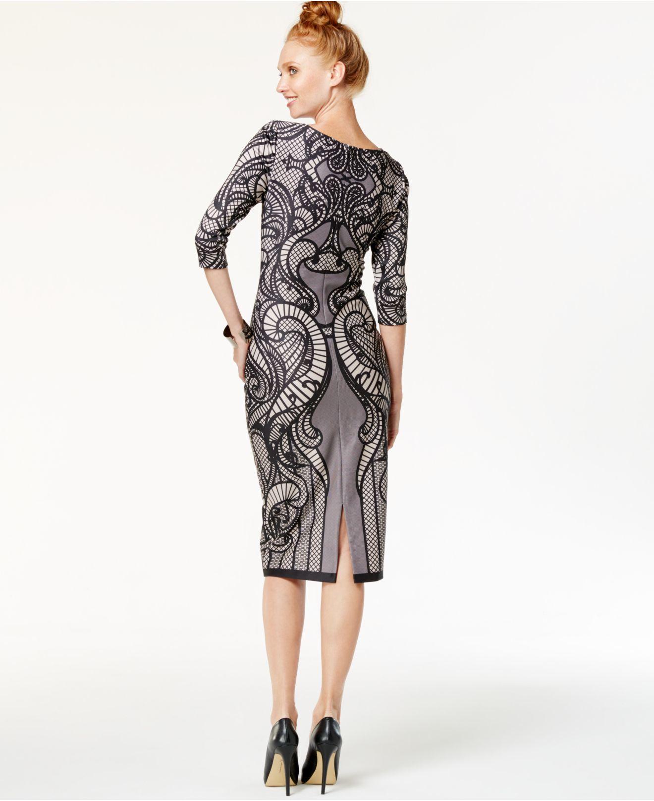 Eci Lace Print Midi Sheath Dress In Black Lyst
