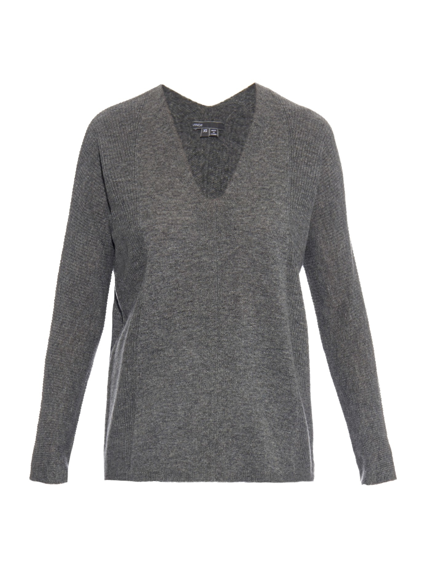 Vince V-neck Ribbed-knit Cashmere Sweater in Gray | Lyst