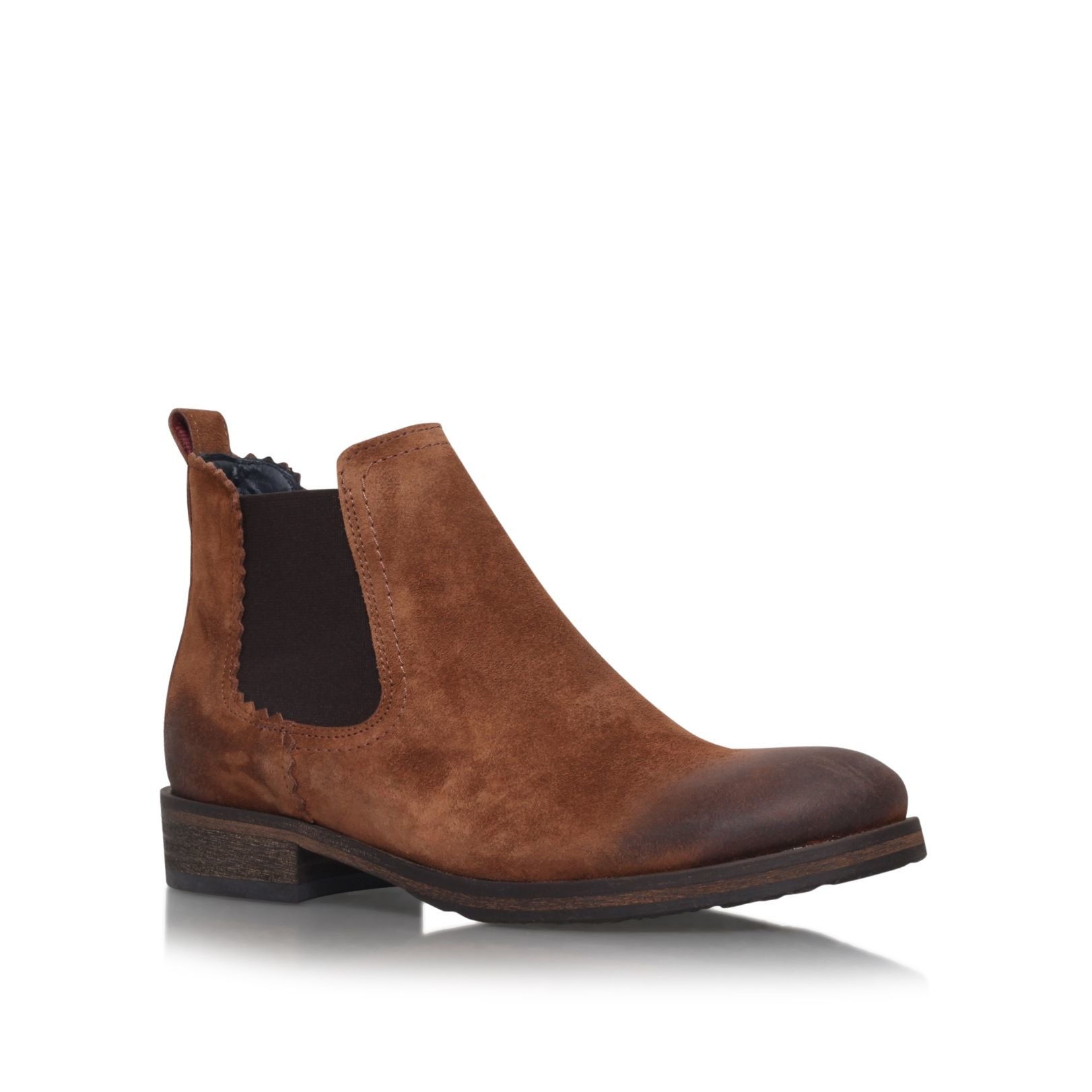 hilfiger avive 10b low heel ankle boots in brown