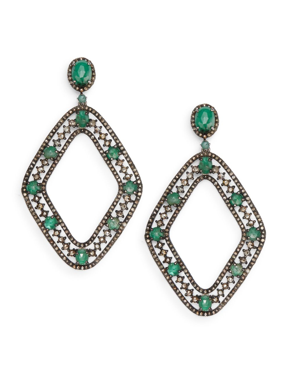 bavna jewelry bavna chagne diamonds emerald sterling silver drop 3651