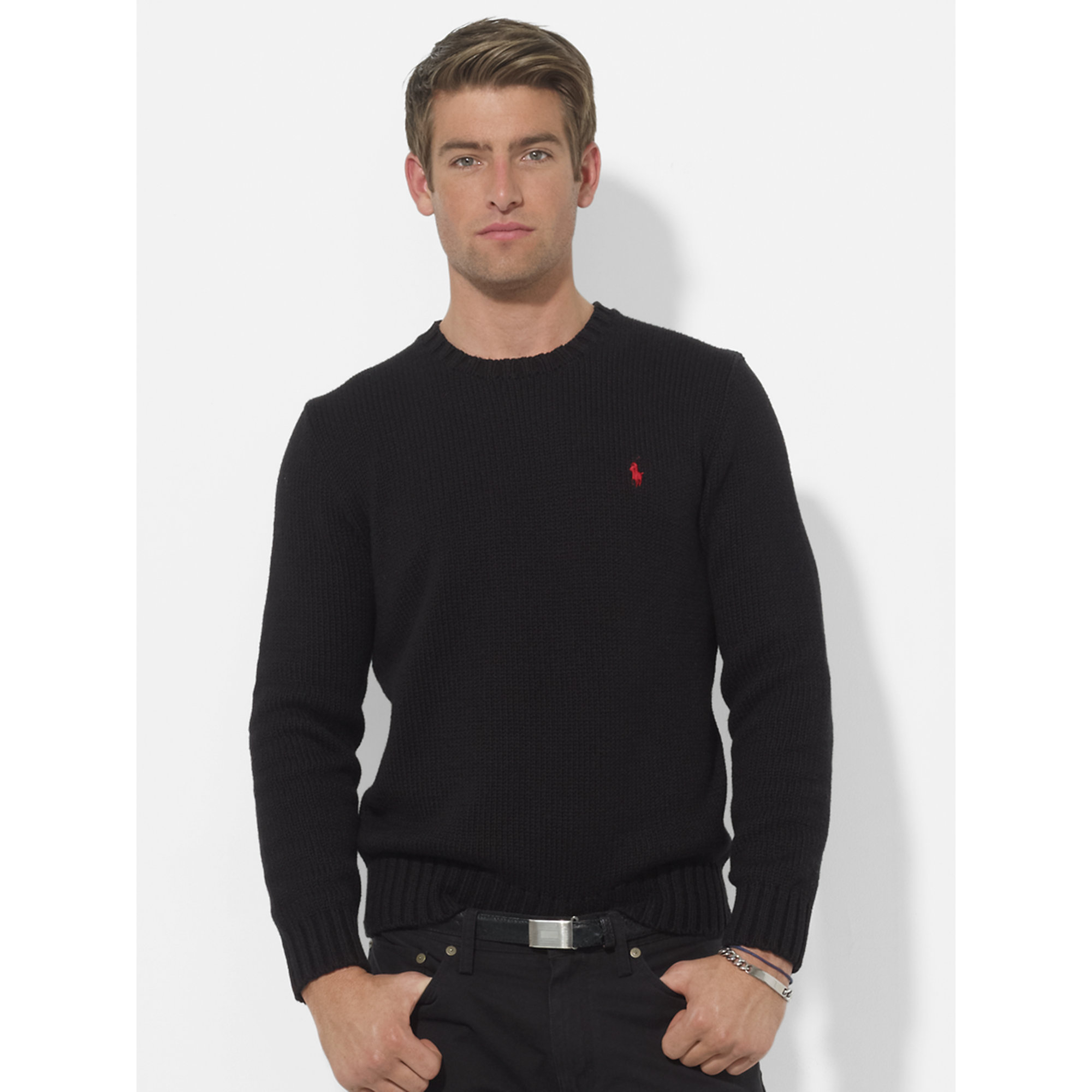 aaab910509a0 ... uk lyst polo ralph lauren cotton crewneck sweater in black for men  a8848 72f5e