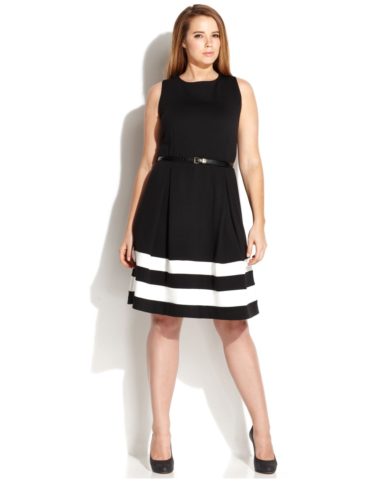 Lyst - Calvin Klein Plus Size Striped-hem Belted Dress in Black 9869b0f90