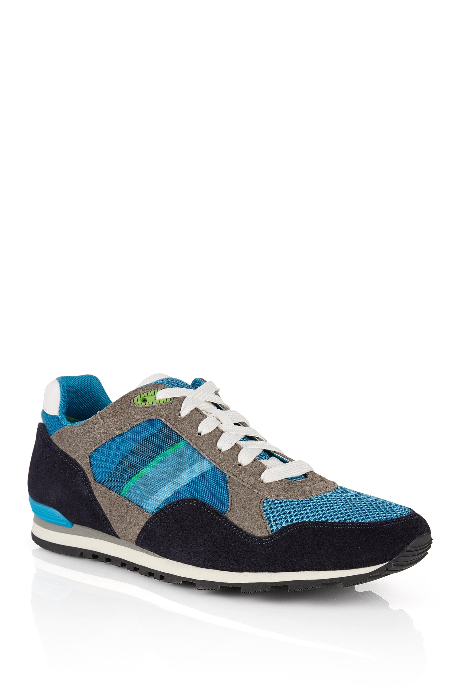 boss green suede sneakers 39 runcool 39 in blue for men lyst. Black Bedroom Furniture Sets. Home Design Ideas