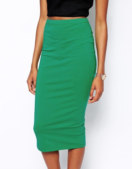 asos midi pencil skirt in jersey in green lyst