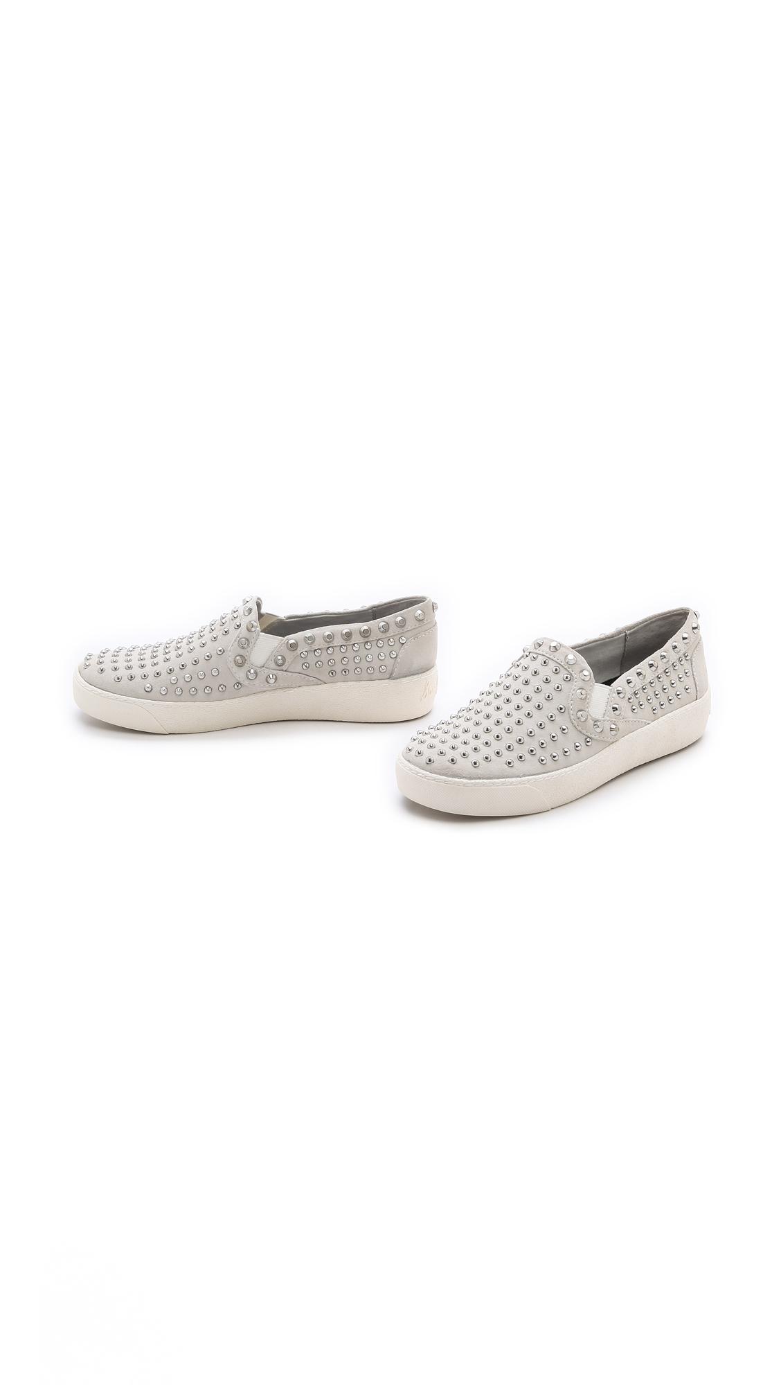 44e9000da9eafd Lyst - Sam Edelman Braxton Studded Slip On Sneakers in White