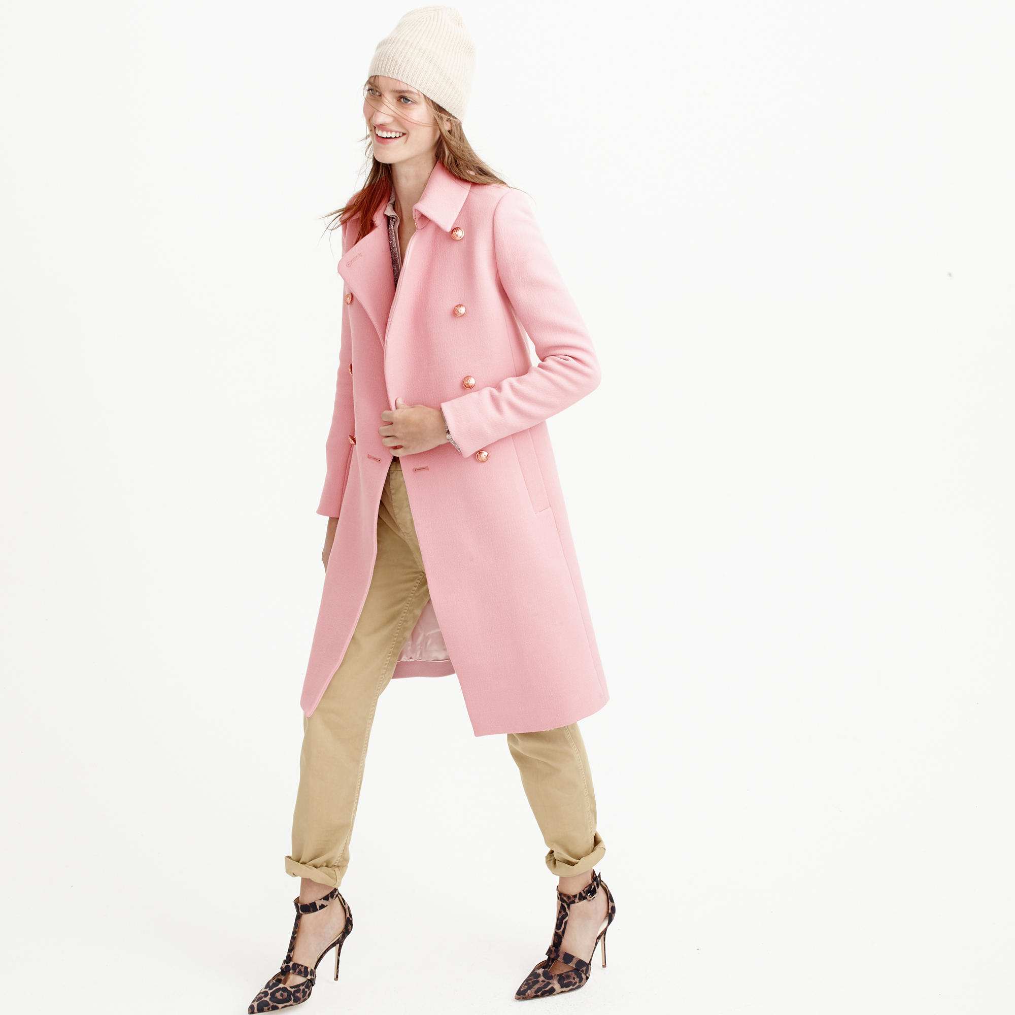 Double cloth long peacoat in pink peruvian pink for Jcrew com