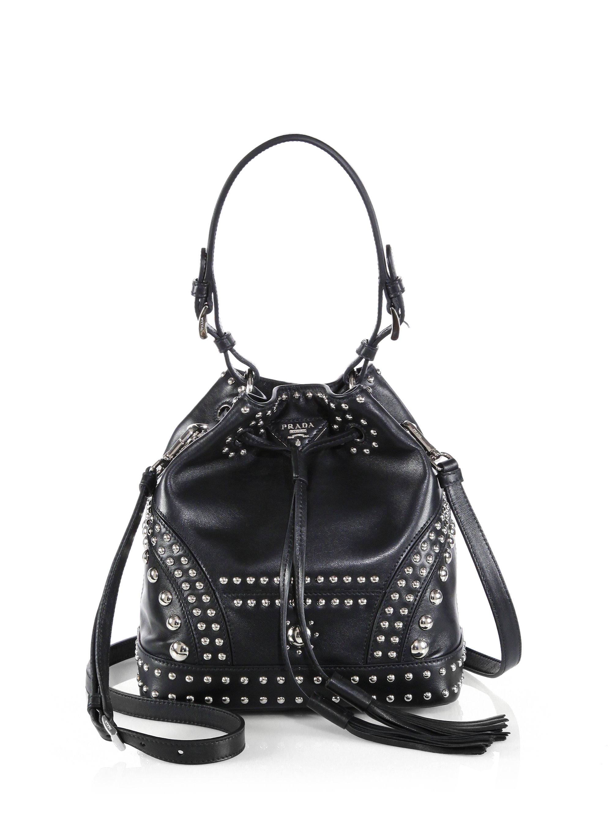 7e1d4b974786 Lyst - Prada Soft Calf Studded Small Bucket Bag in Black