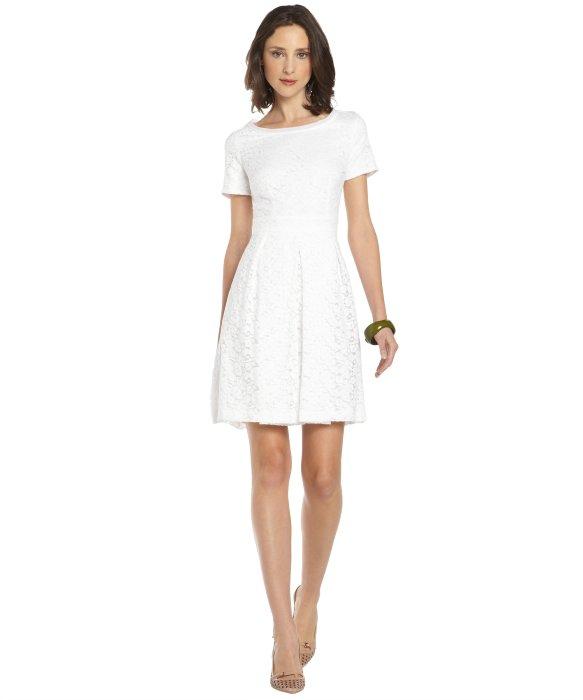 Tahari White Lace Glenda Short Sleeve Dress in White | Lyst