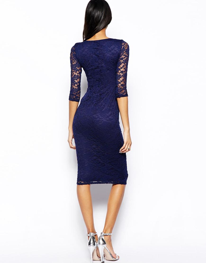 Lace bodycon dress blue