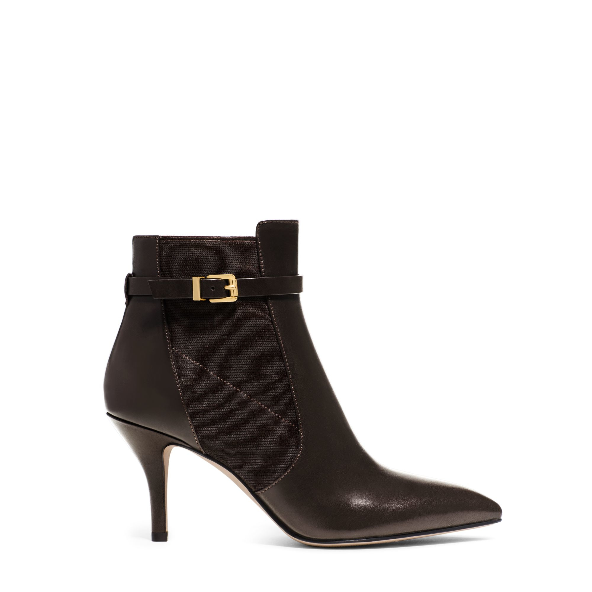 michael kors woods leather ankle boot in brown chocolate. Black Bedroom Furniture Sets. Home Design Ideas