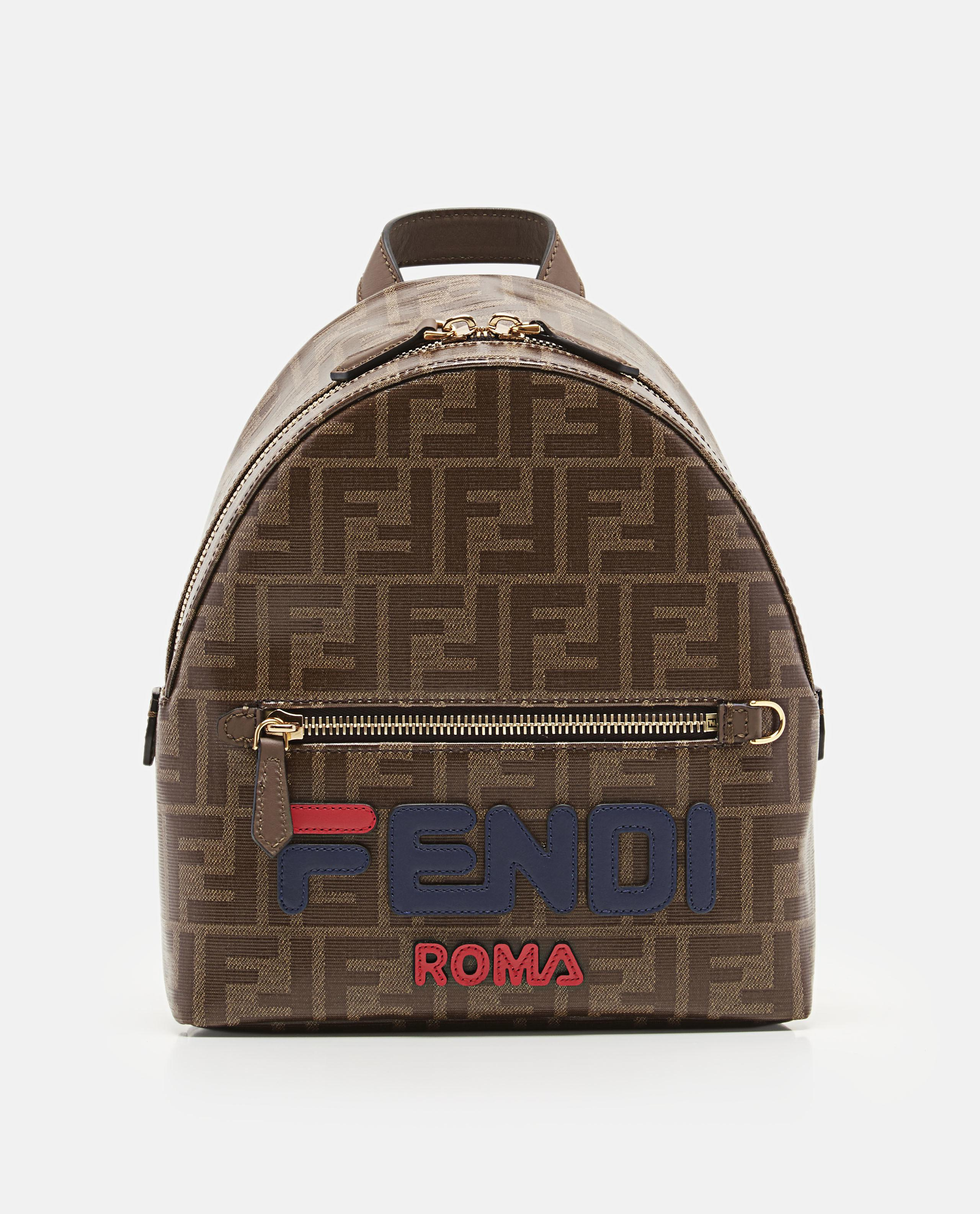 117710735e8d Lyst - Fendi Mania Logo Appliqué Coated Canvas Backpack in Brown
