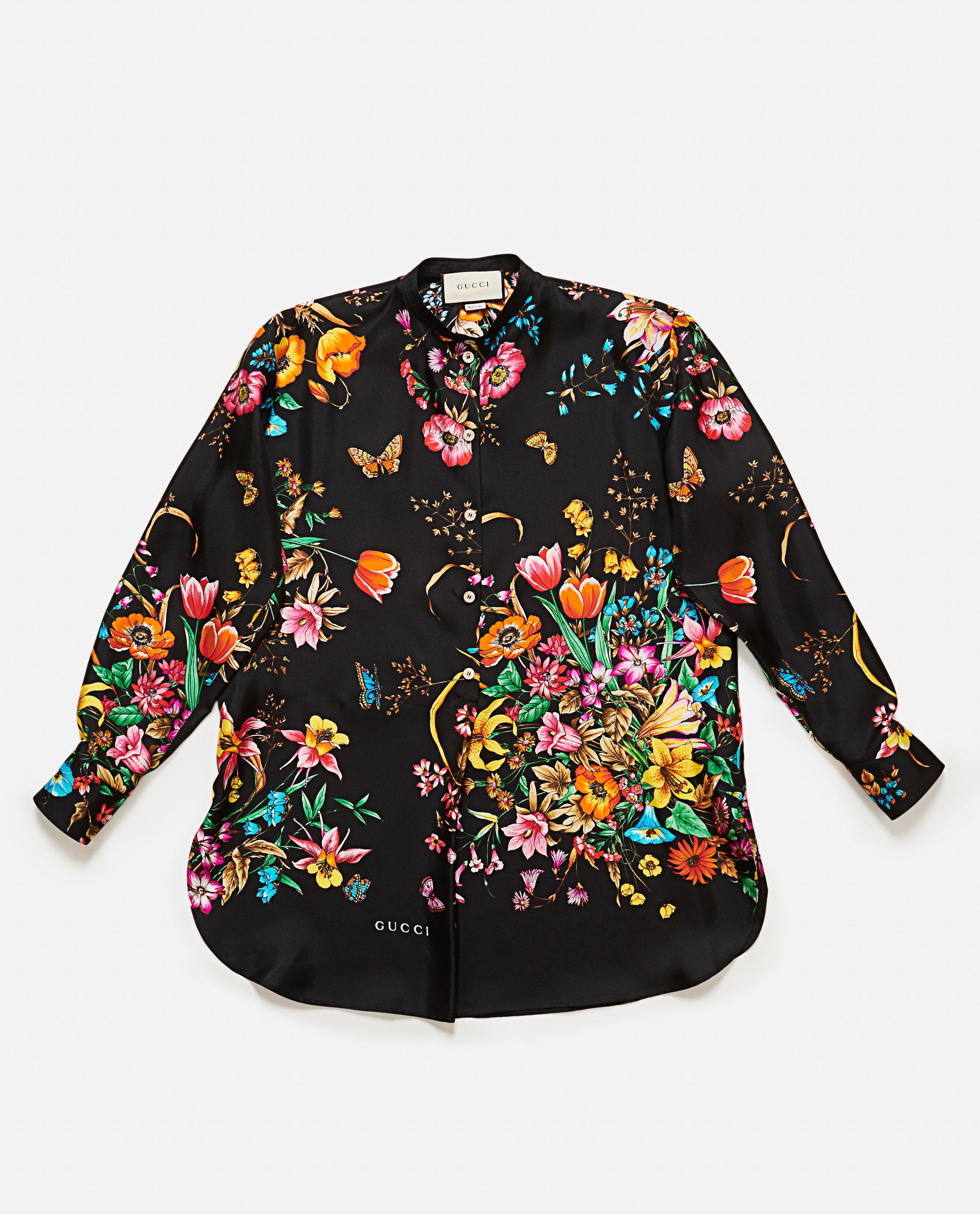 2cff45f0986b7d Lyst - Gucci Silk Shirt in Black