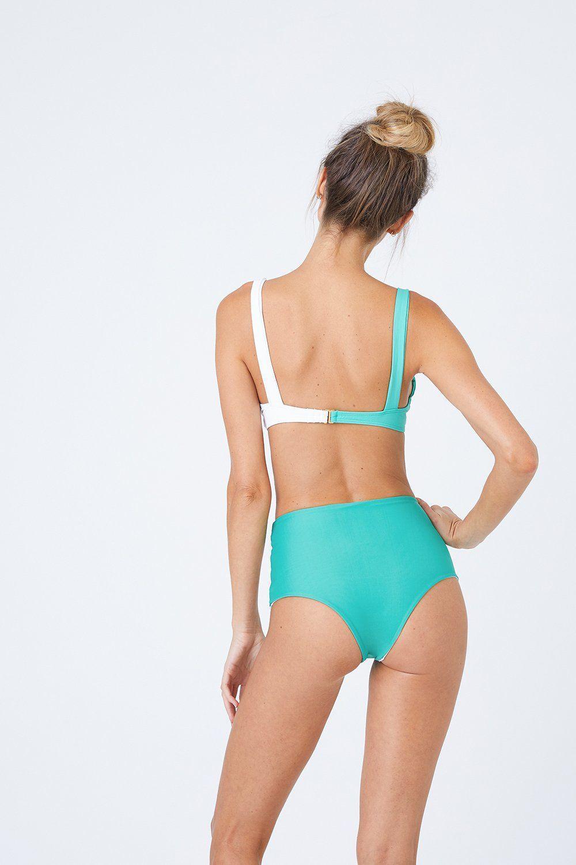 ca4d695810 L*Space Portia High Waist Bikini Bottom - Spearmint/white in White ...