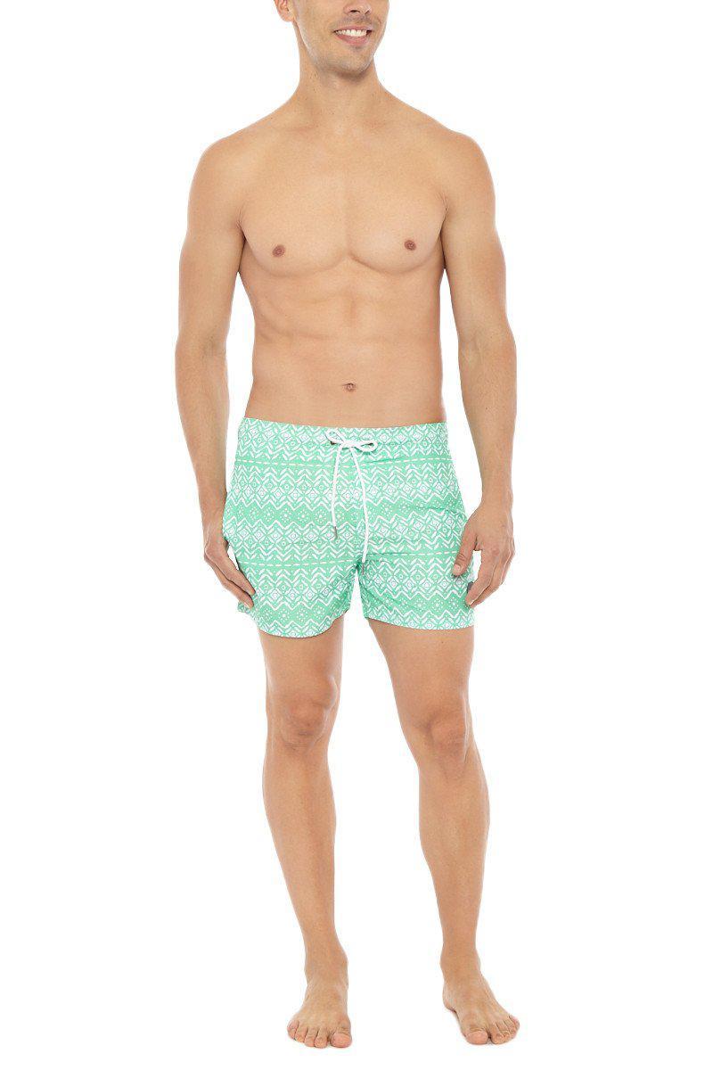 793d05e6ba3bd Lyst - Bikini.Com Aztec Print Mid Length Swim Trunks (men's) in Green