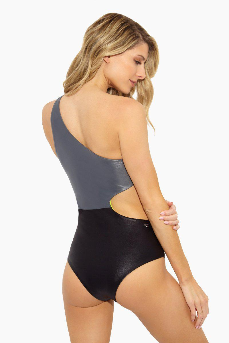 32344769e8b99 ... Paola Asymmetric Cut Out One Piece Swimsuit - Latex - Lyst. View  fullscreen
