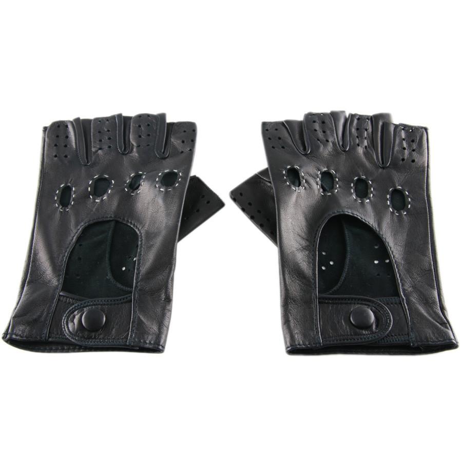 Black.co.uk Men's Black Leather Fingerless Driving Gloves ...