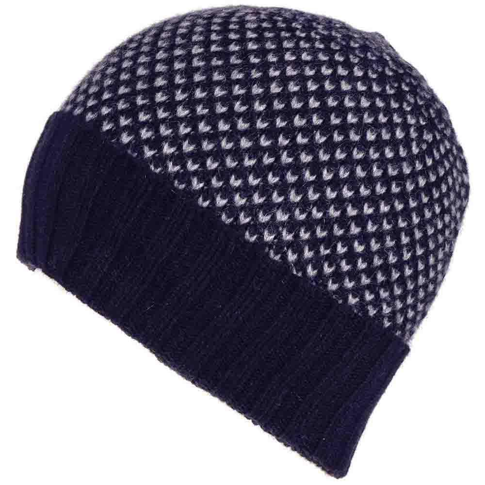 9752fb84b12 Lyst - Black.co.uk Navy And Grey Chevron Cashmere Beanie Hat in Gray ...