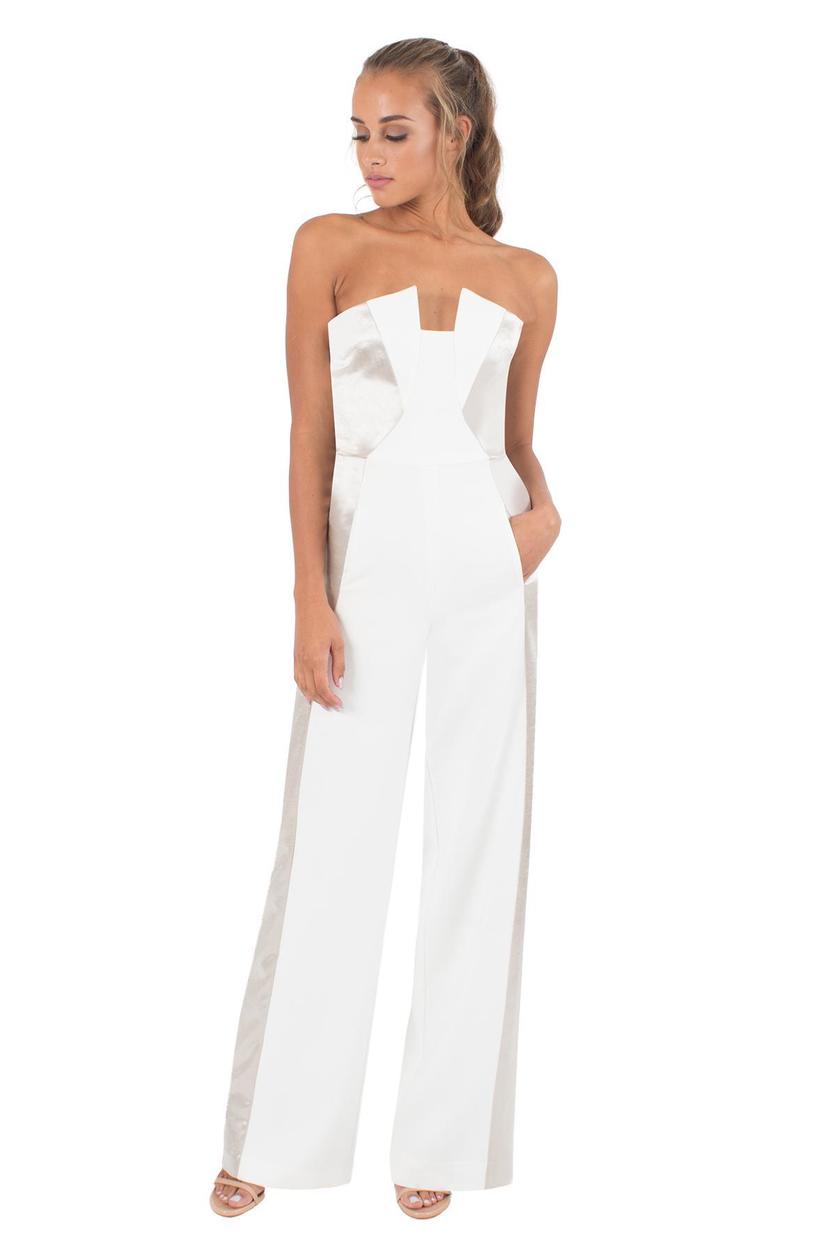 4128d1887713 Black Halo Lena Color Block Jumpsuit in White - Lyst