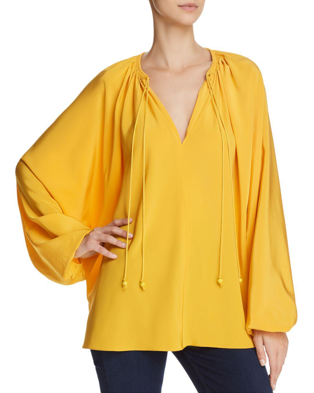 54539d615db6cd Elizabeth And James Chance Silk Top in Yellow - Lyst