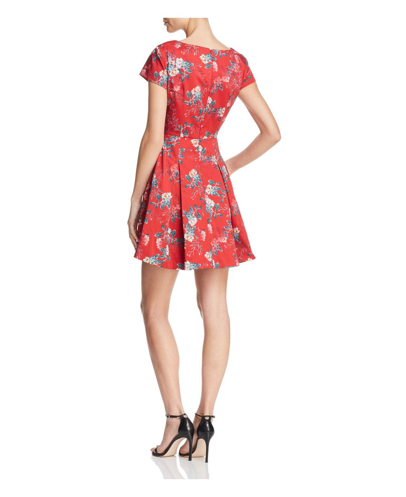 2226c231d82 French Connection Kioa Pleated Floral-print Dress in Red - Lyst