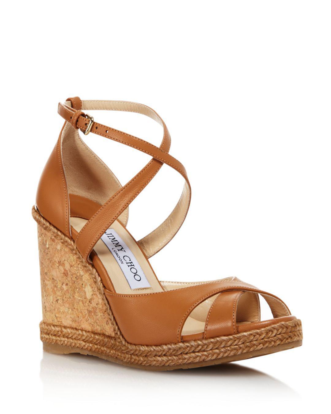 5fa850addb Jimmy Choo Women's Alanah 105 Cork Wedge Heel Sandals in Brown - Lyst