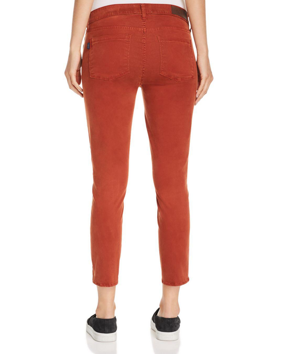 8082a6c54b Lyst - Parker Smith Twisted Seam Crop Skinny Jeans In Whiskey in Red