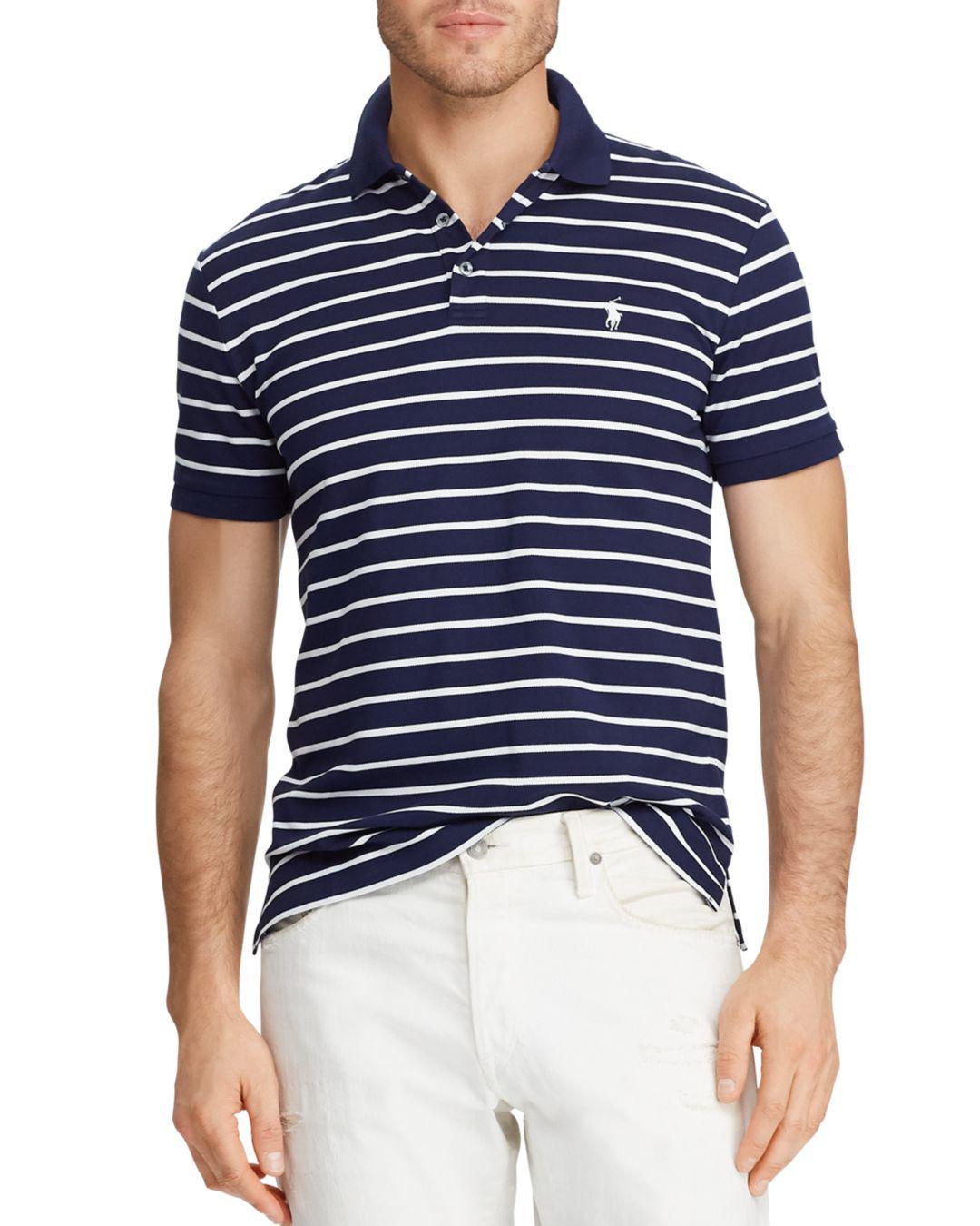 58fc45af2 Lyst - Polo Ralph Lauren Mesh Custom Slim Fit Polo Shirt in Blue for Men