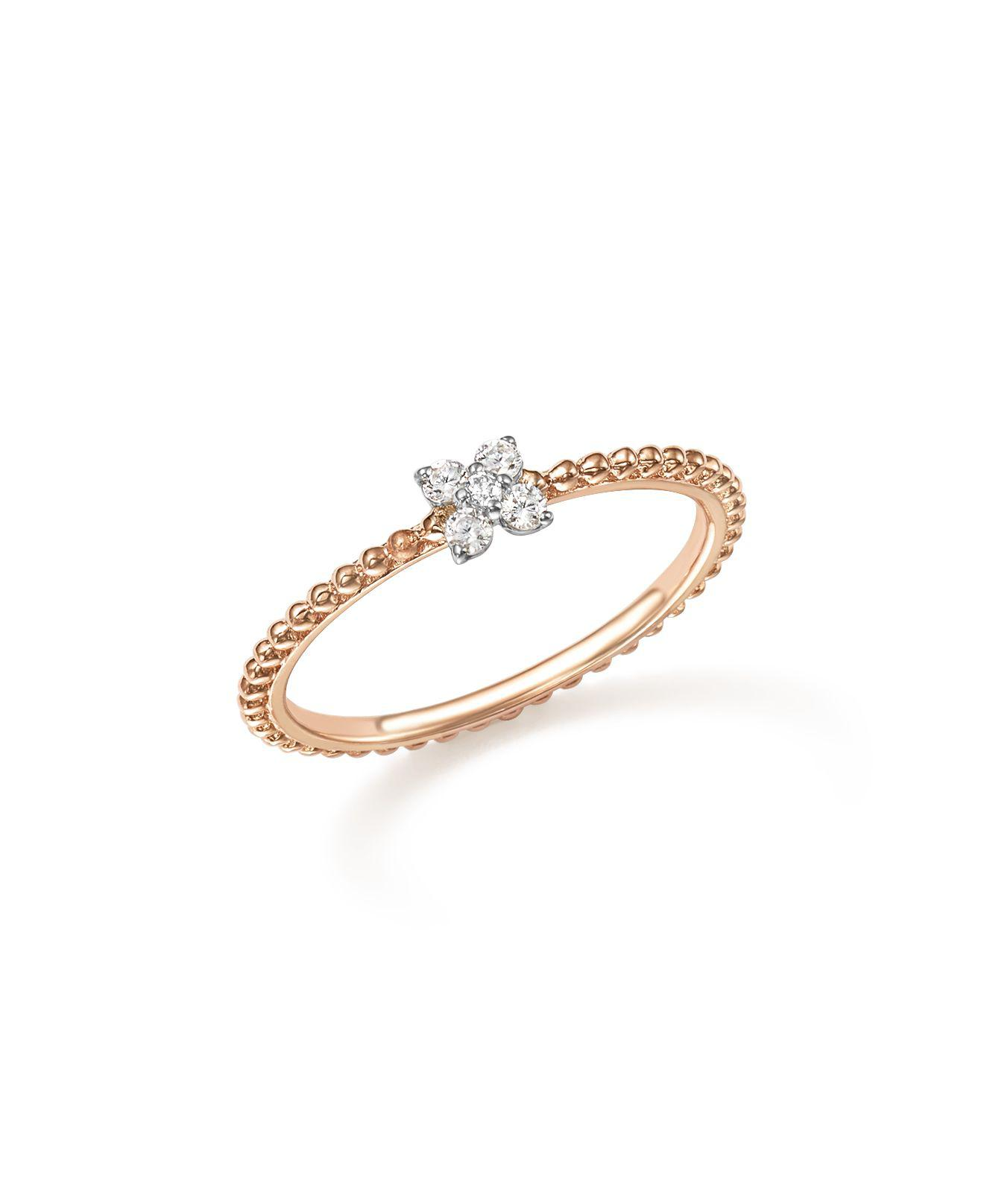 Lyst BloomingdaleS Diamond Cluster Beaded Ring In 14k Rose Gold