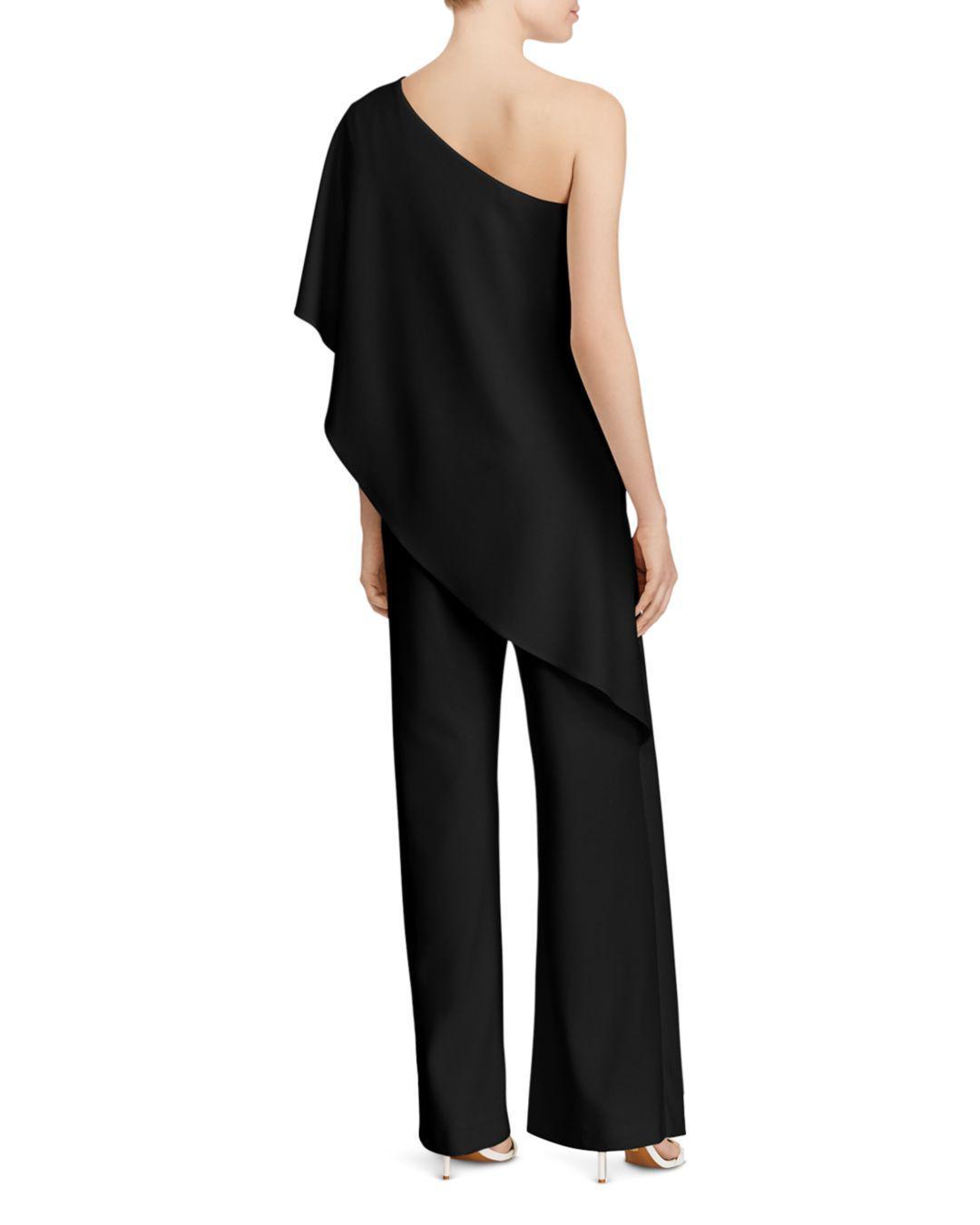 a9f5925a356 Lyst - Ralph Lauren Lauren Ruffle One-shoulder Jumpsuit in Black