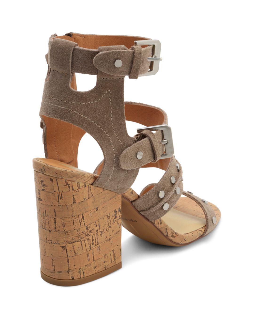 d09a240eacb Dolce Vita Women s Eddie Suede High Block Heel Gladiator Sandals in ...