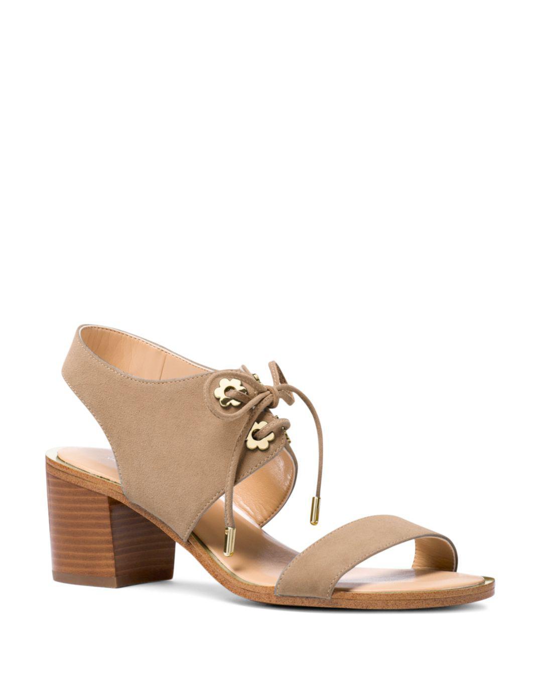 61202fd64c7 Michael Michael Kors Women s Estela Suede Ankle Tie Block Heel ...
