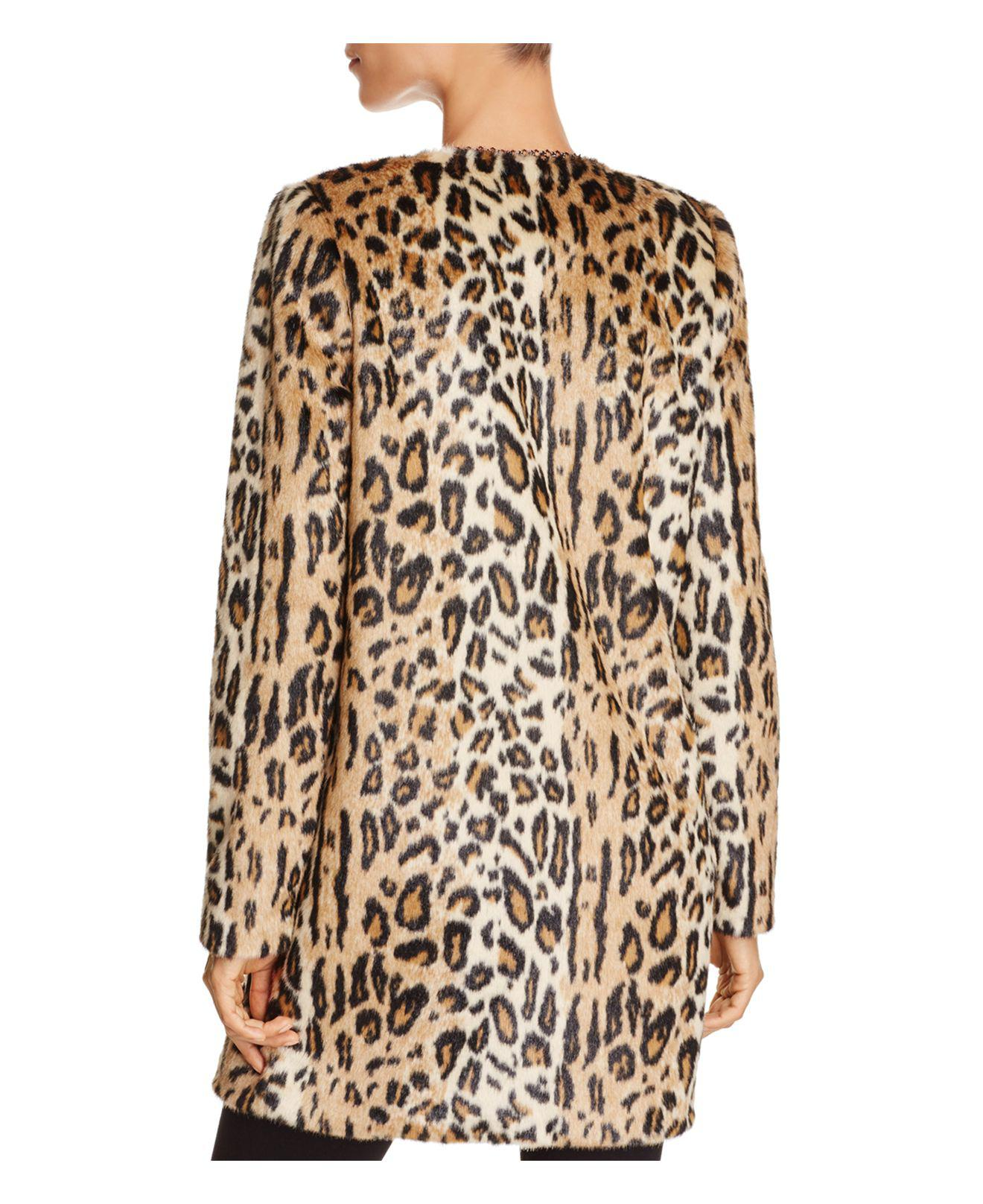 3565b6eeeb82 T Tahari Jenna Faux Leopard Coat in Natural - Lyst