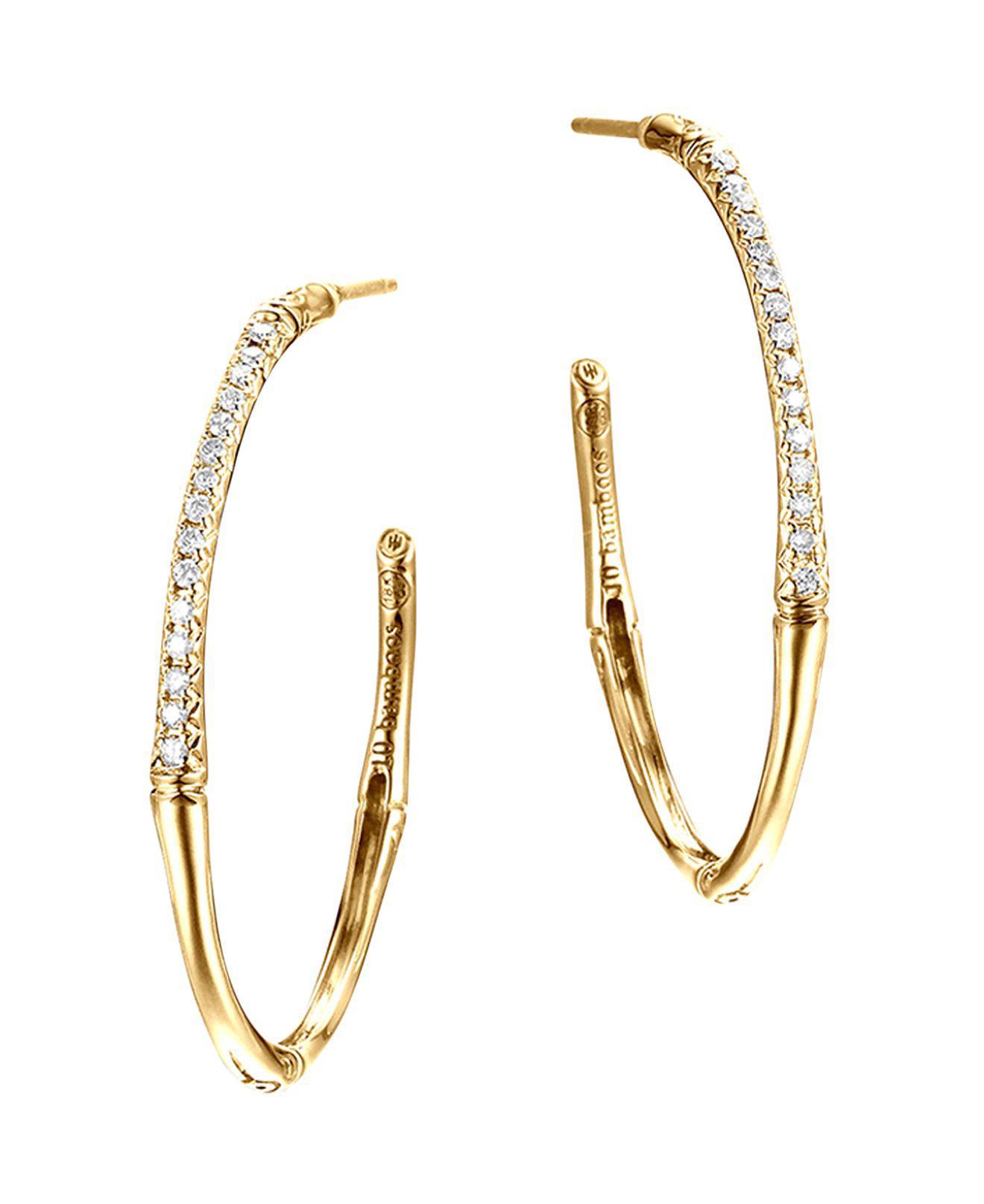 John Hardy 18k Bamboo Diamond Pavé Hoop Earrings iqGsEKMoA