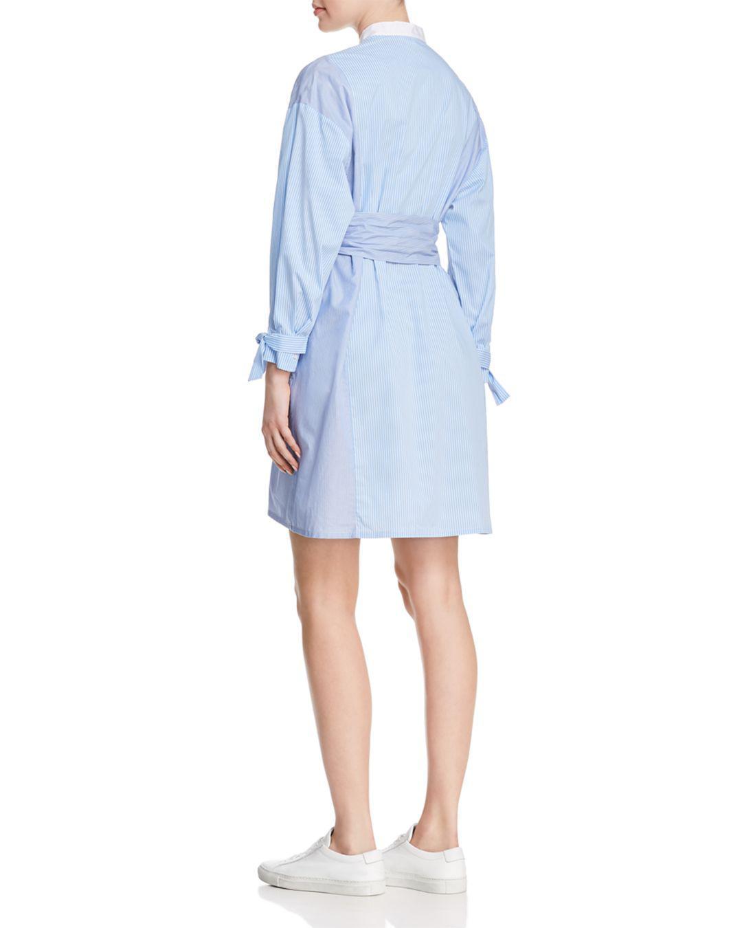 71042e67d9f Lyst - Maje Carty Striped Shirt Dress in Blue