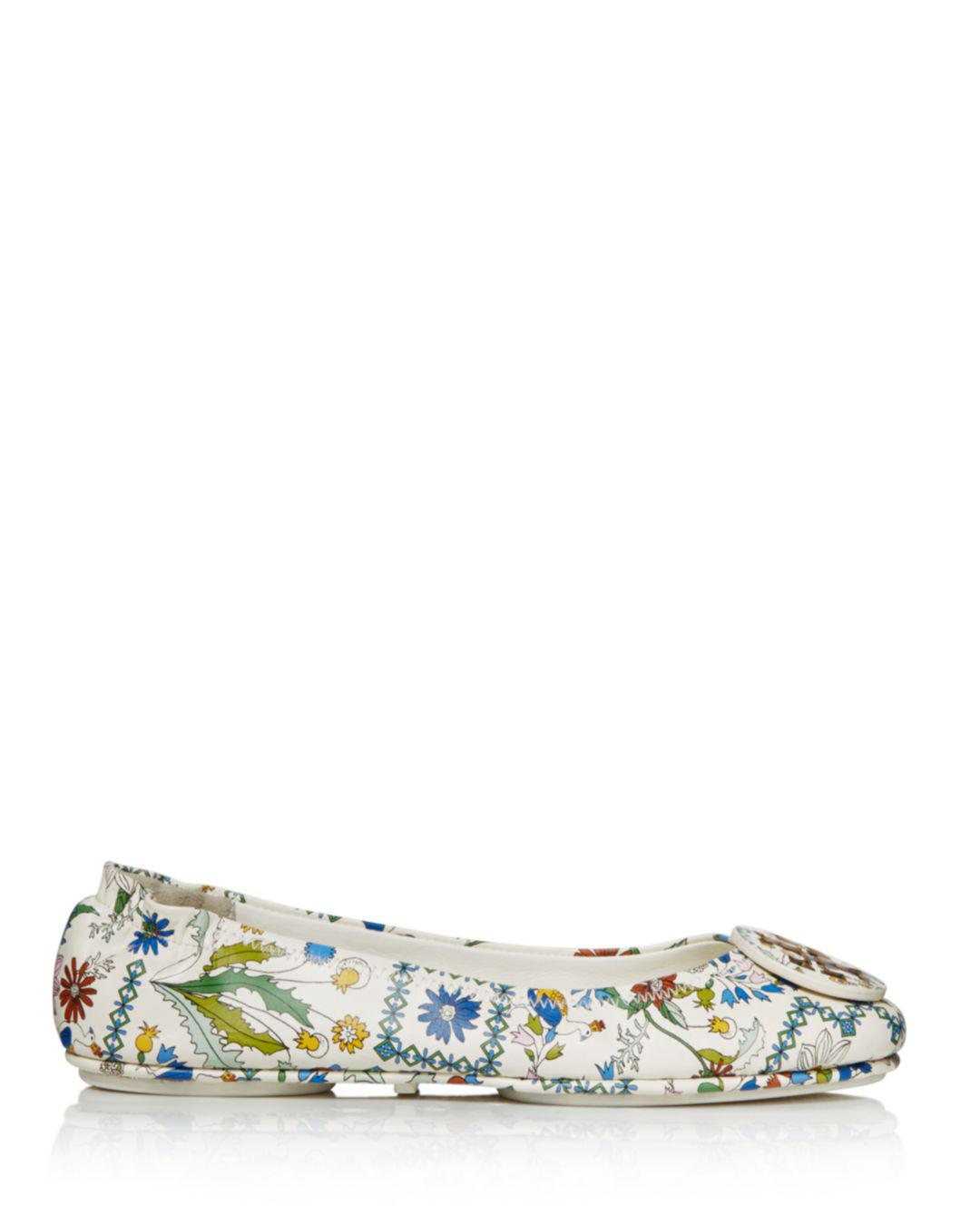 8cfa941b6e3164 Lyst - Tory Burch Minnie Ivory Meadow Folly Travel Ballet Flats in White -  Save 33%